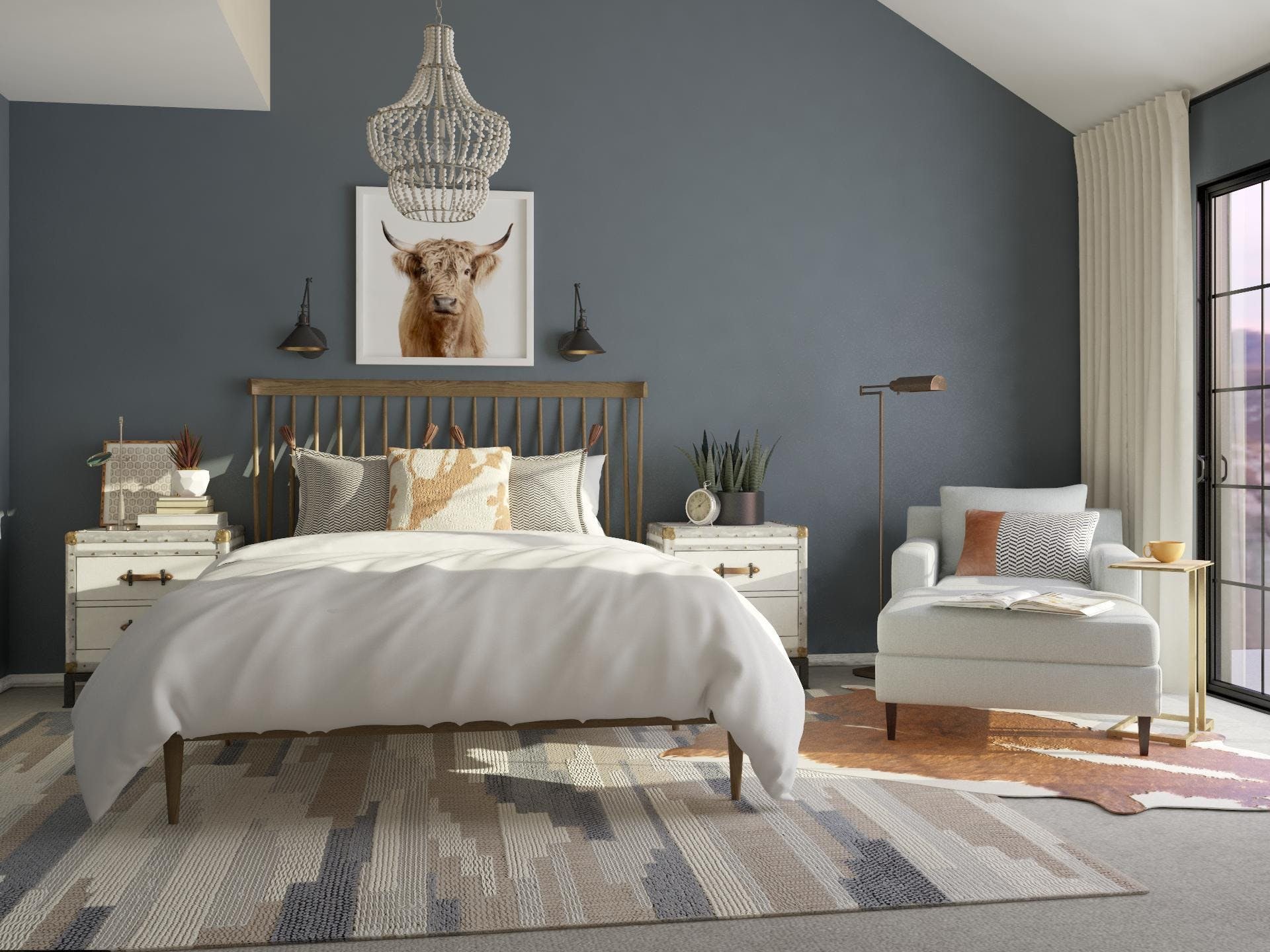 Rustic Blue Bedroom With Warm Orange Accents