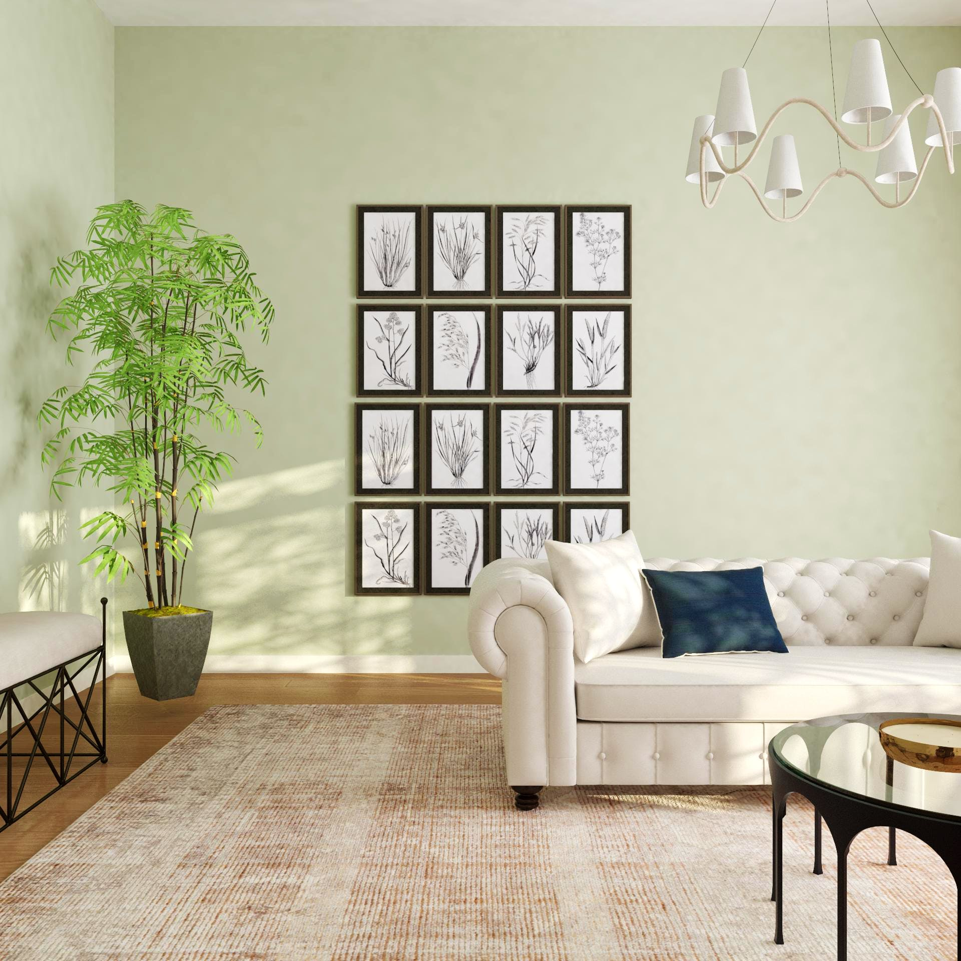 Grid Gallery Wall in a Transitional Space