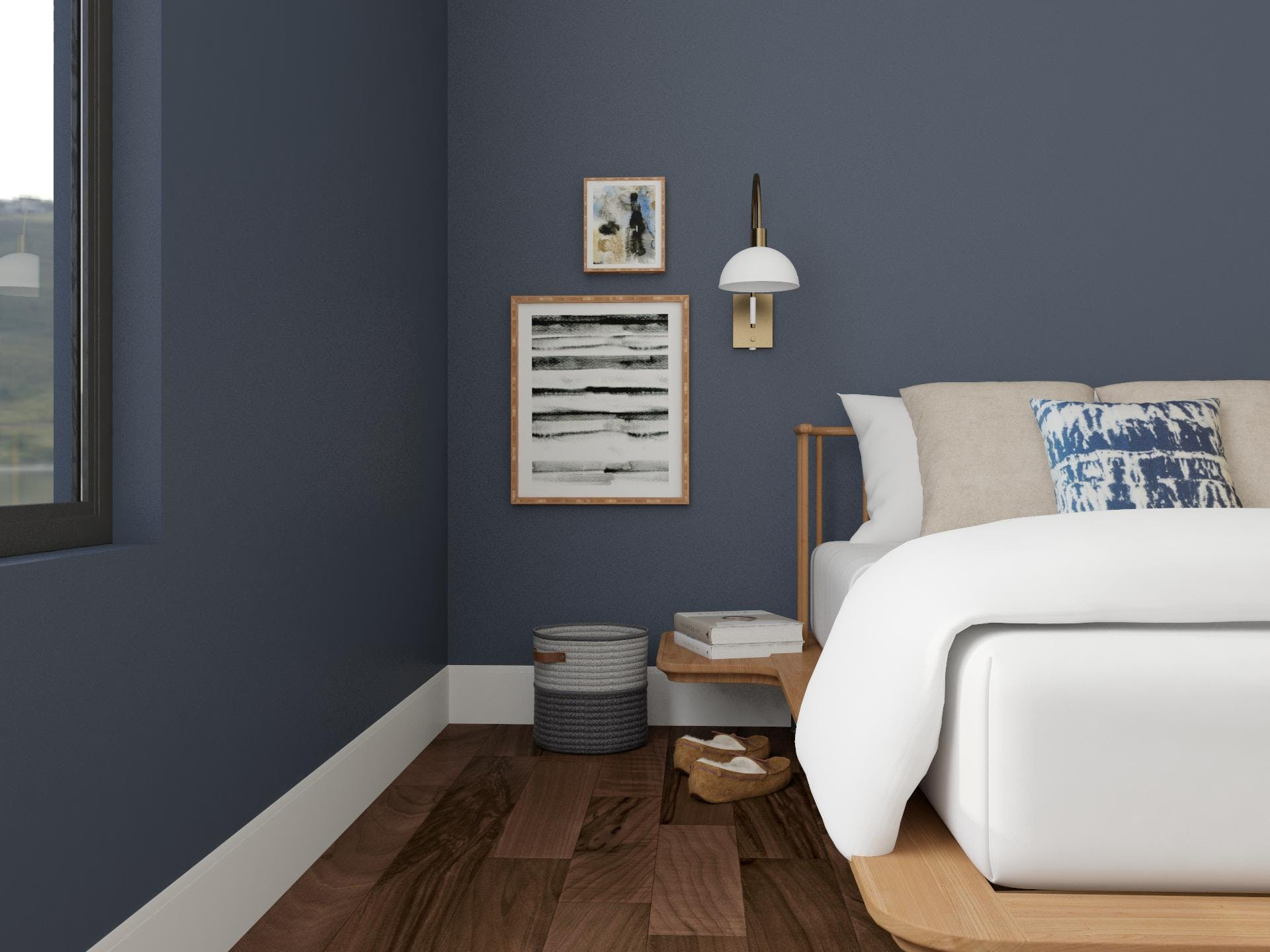 Mid-Century-Modern Bedroom in Blue with Warm Wood