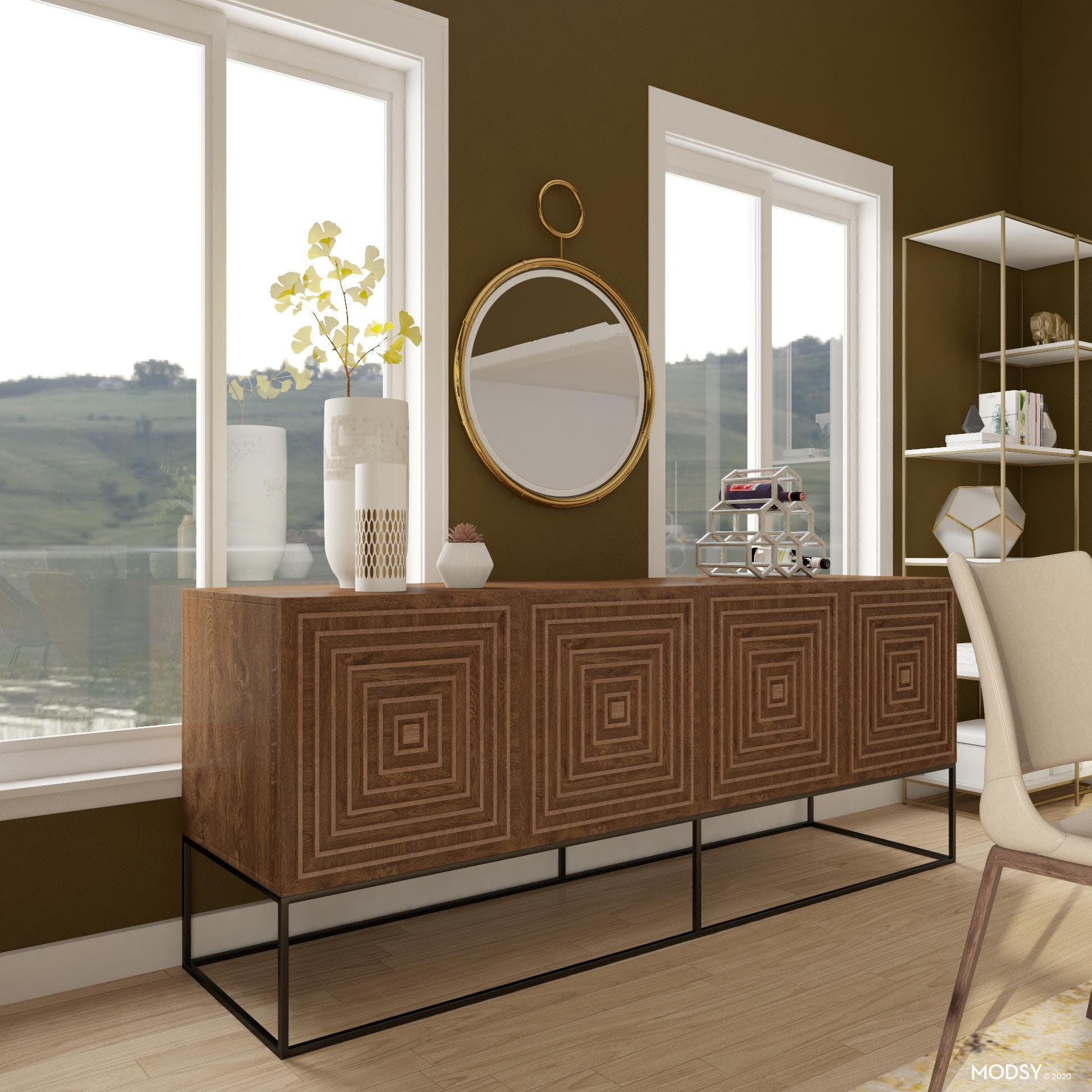 Modern Pet-Friendly Dining Room In Earth Tones