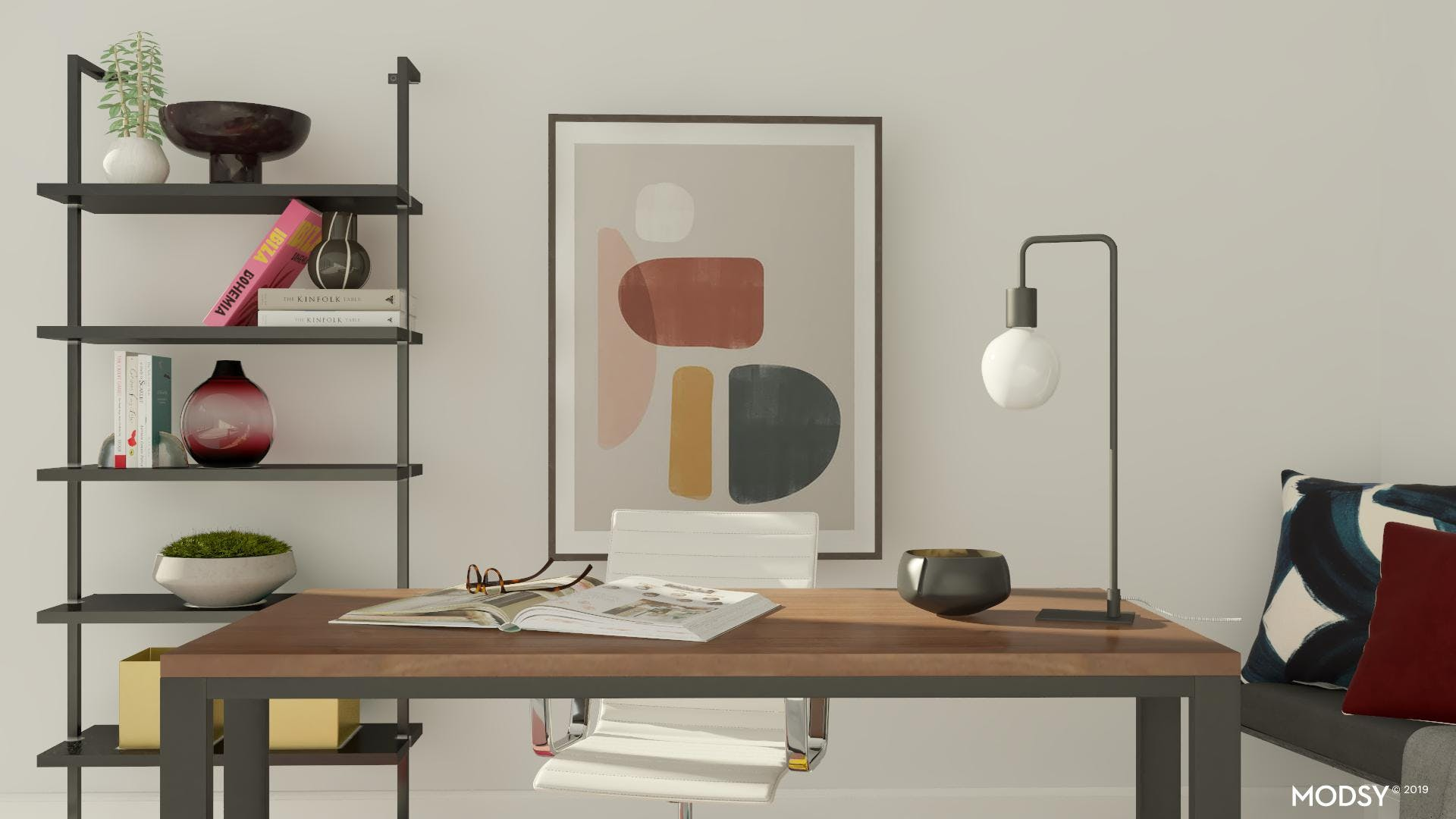 Colorful Modern Home Office Decor