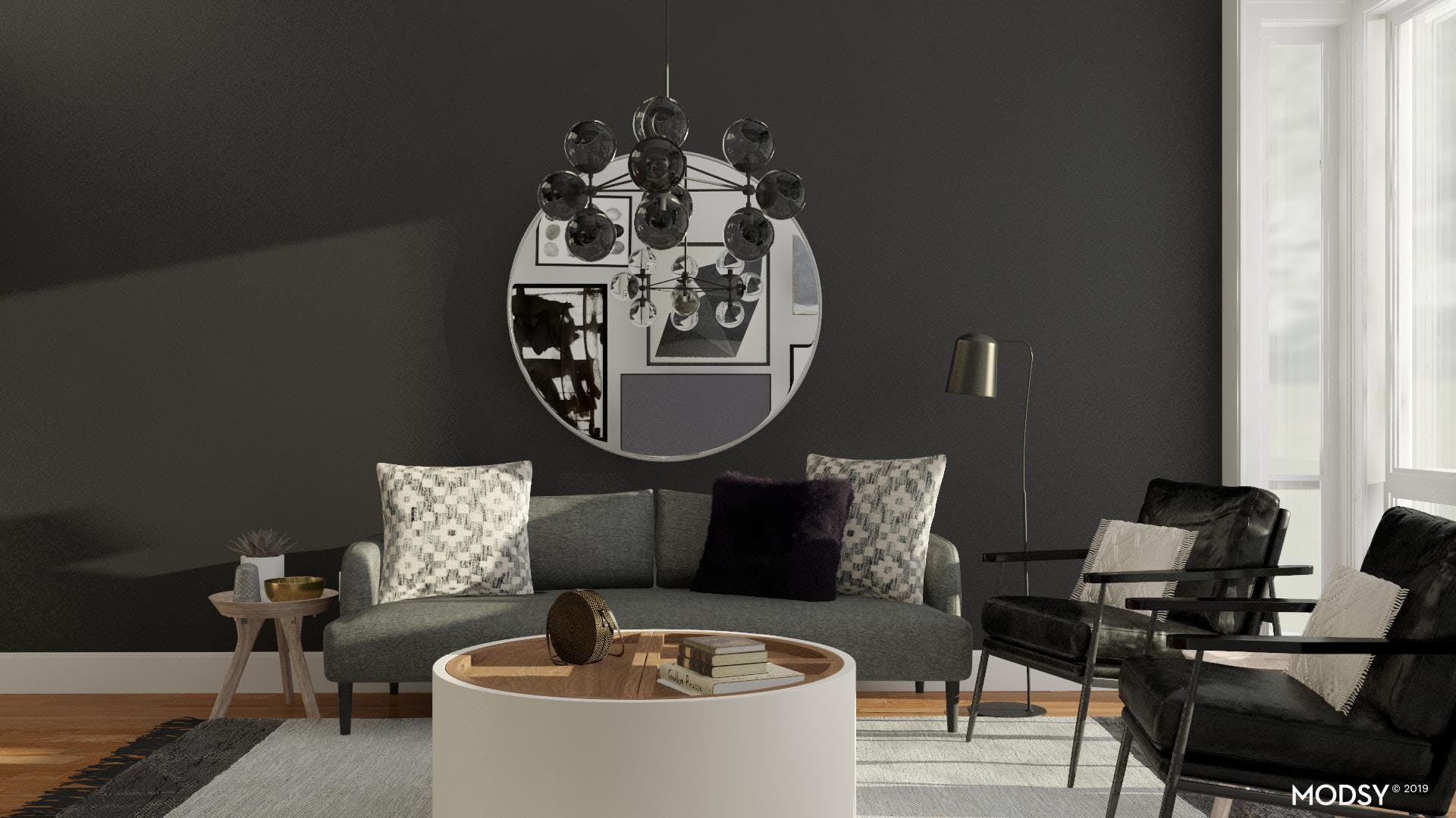 Moody Living Room with Industrial Influence