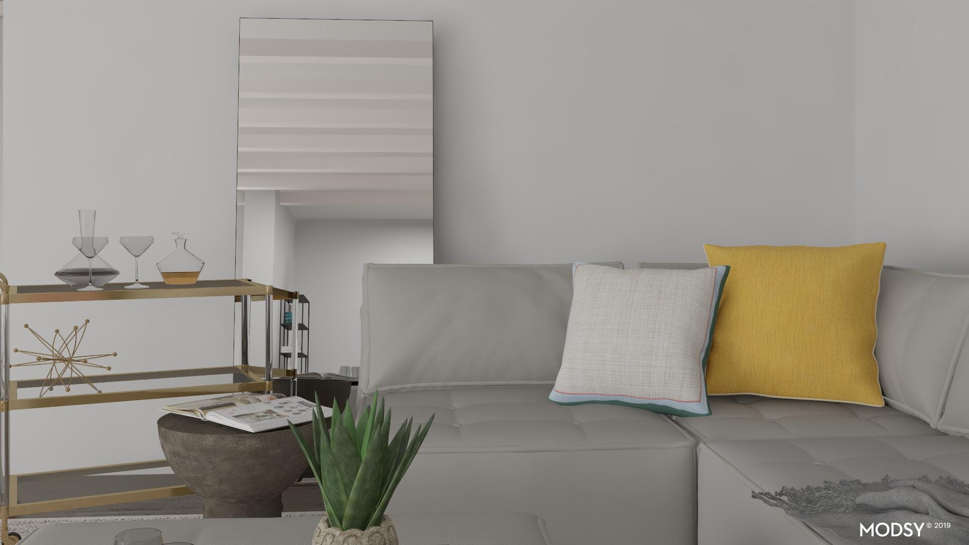 Pastel Accents In Minimal Living Room