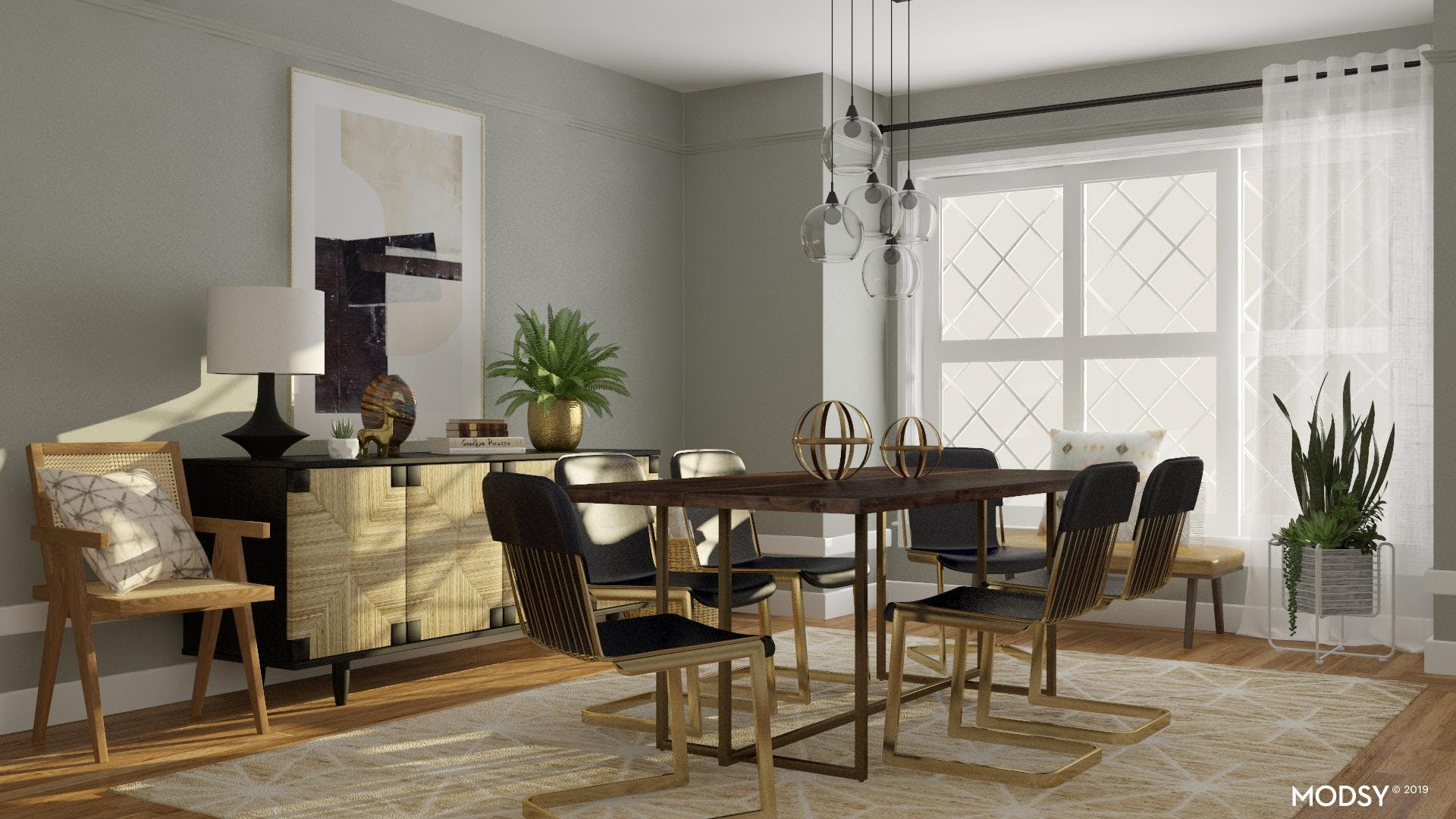 Bold Neutral with a Touch of Brass Dining Room