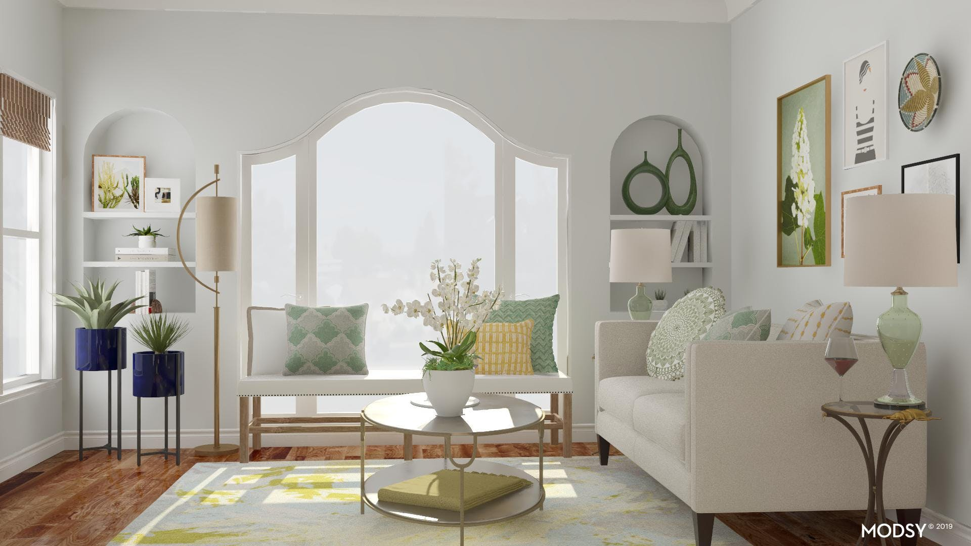 Clean and Green Eclectic Living Room