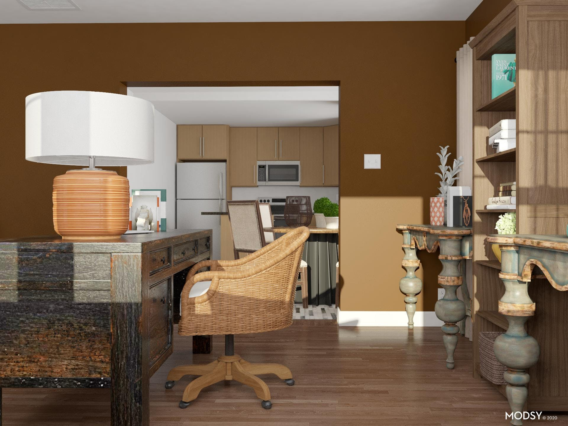 Traditional Home Office, Extra Storage, Earth Tones