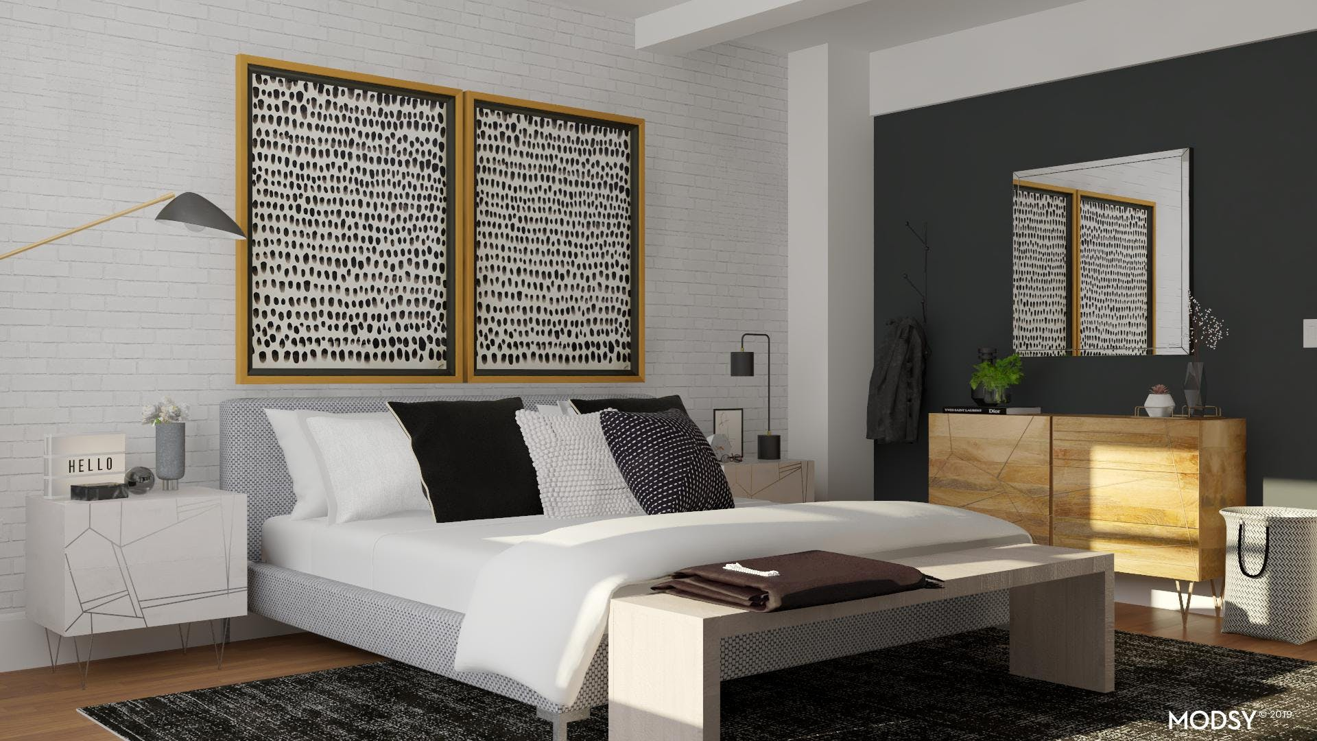 Sophisticated And Modern Black And White Master Bedroom