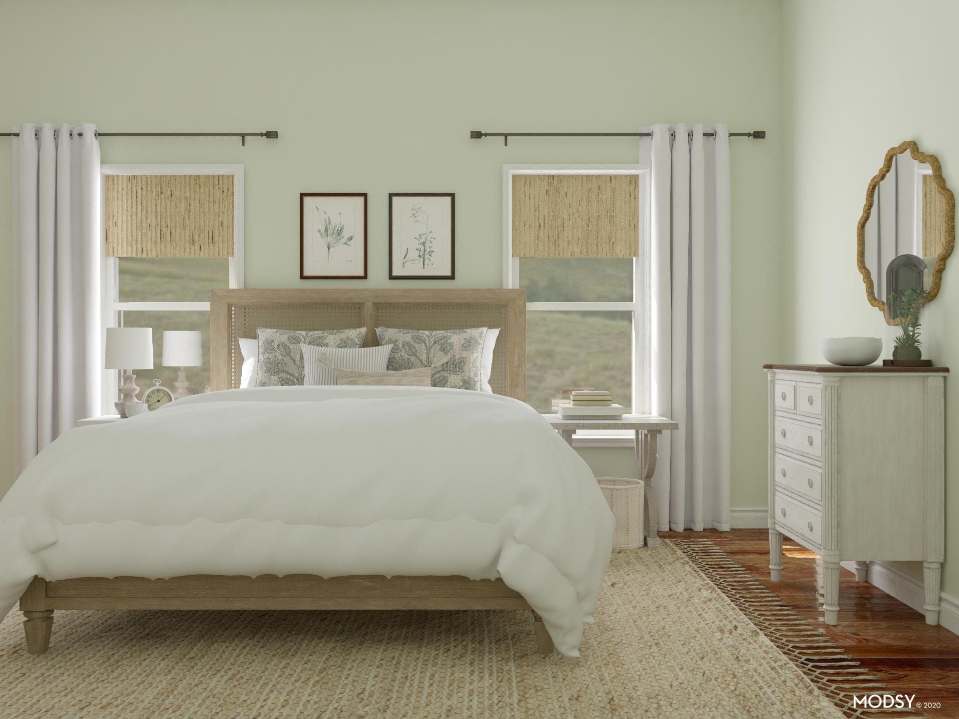 Sage Colored Bedroom in Coastal Style