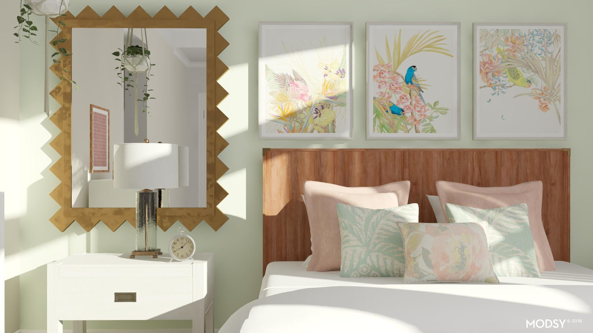 Pastels And Brass Create An Airy And Bright Space