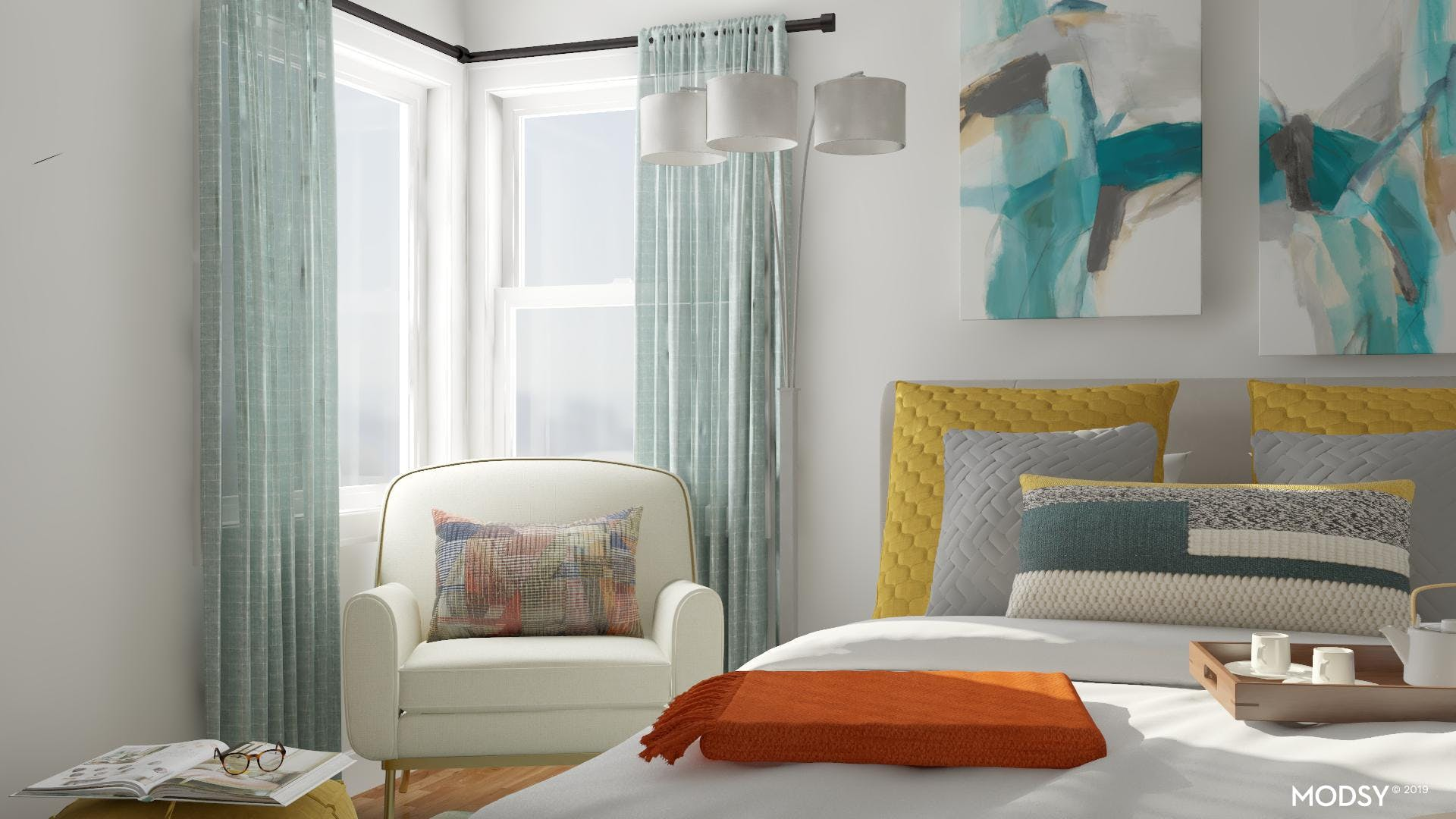 Contemporary Guest Bedroom with Reading Nook