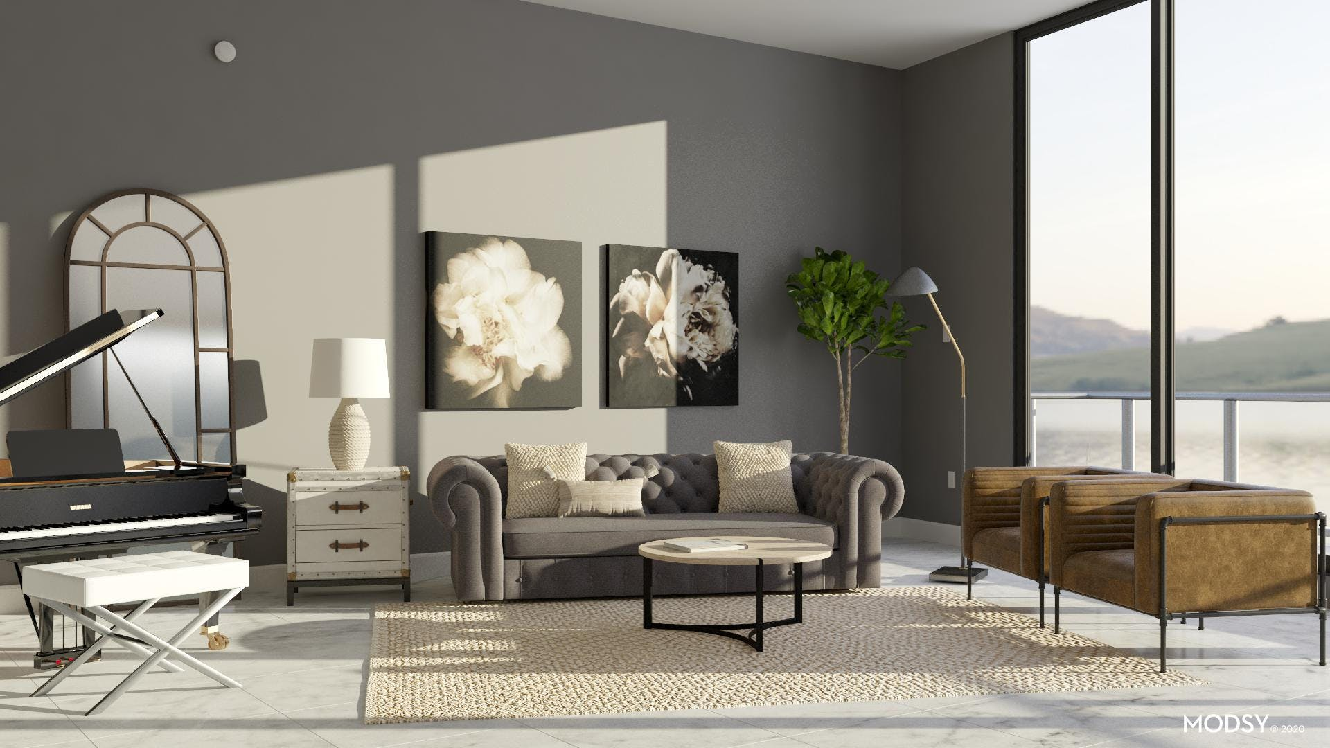 Neutral Industrial Living Space