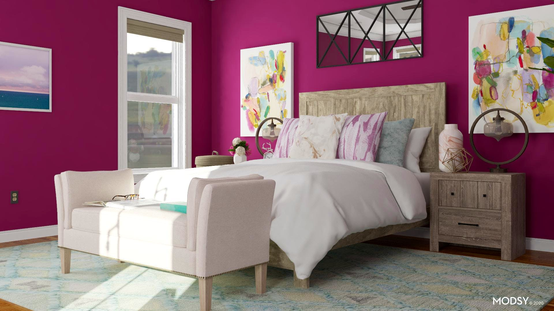 Traditional Bedroom with Jewel Tones