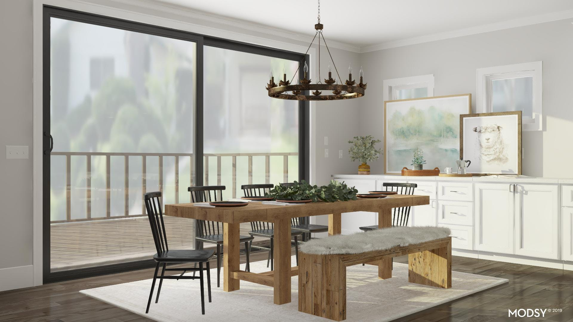 Rustic Dining Room with Kid-Friendly Seating