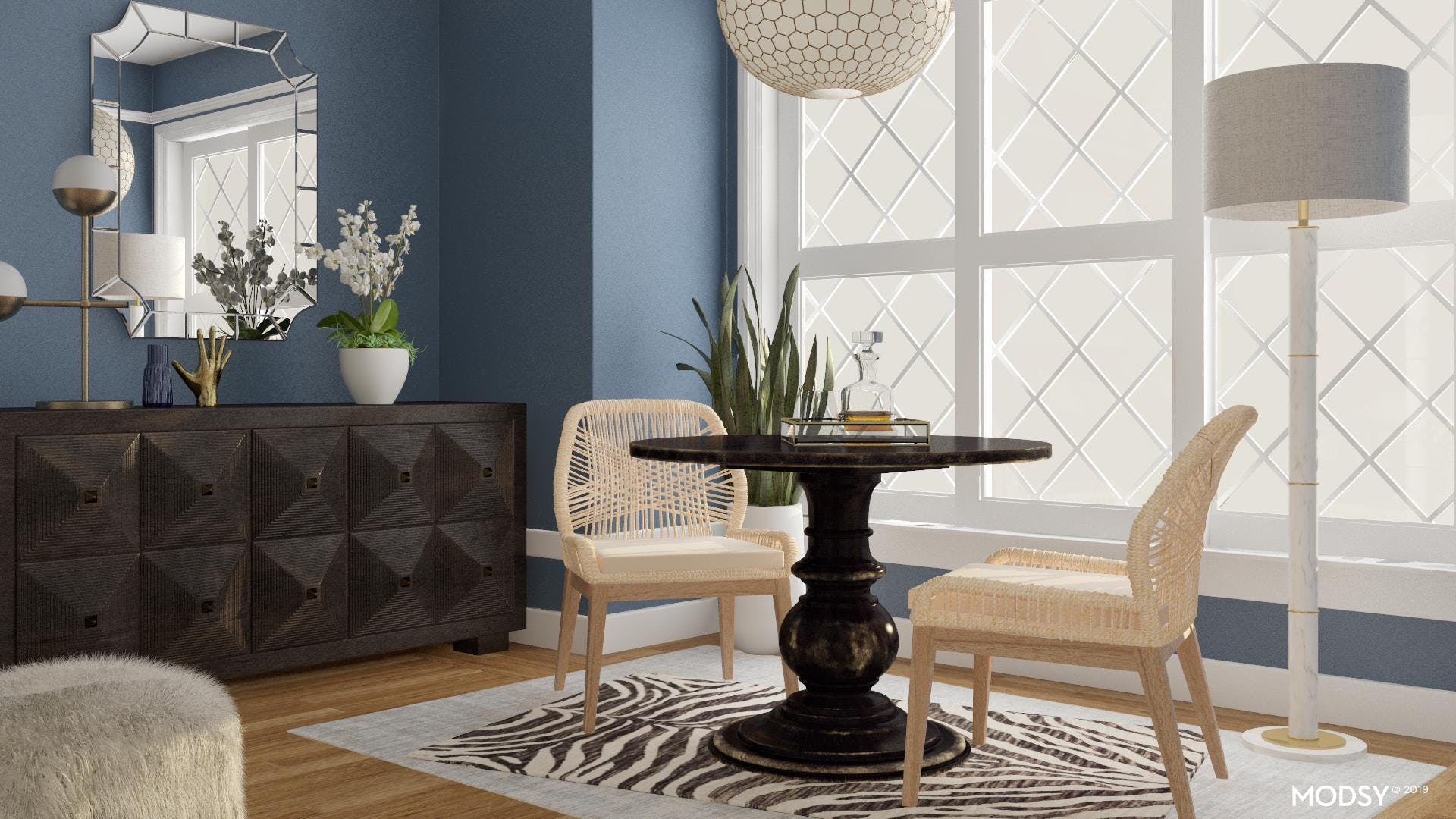 Black and Blue Traditionally Chic Dining Room