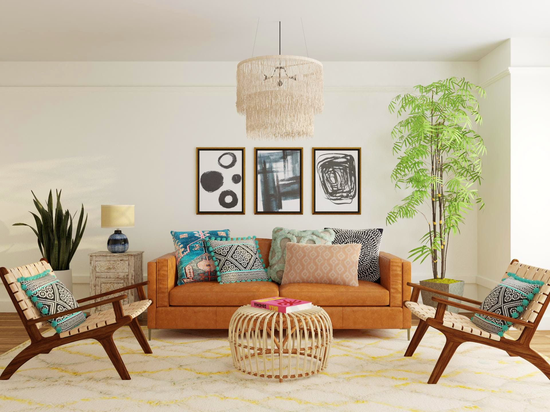 Eclectic Mid-Century-Modern  Inspired Living Room with Symmetrical Layout