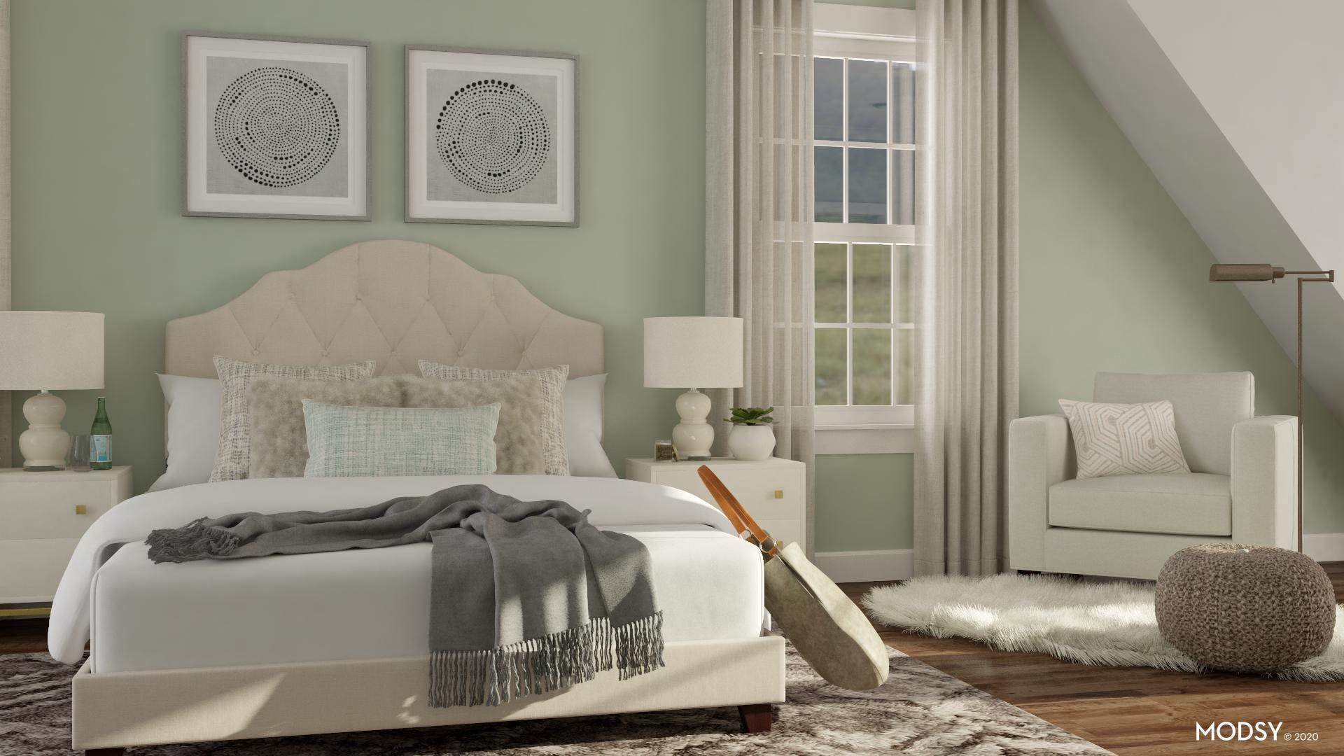 Transitional Bedroom With Reading Nook