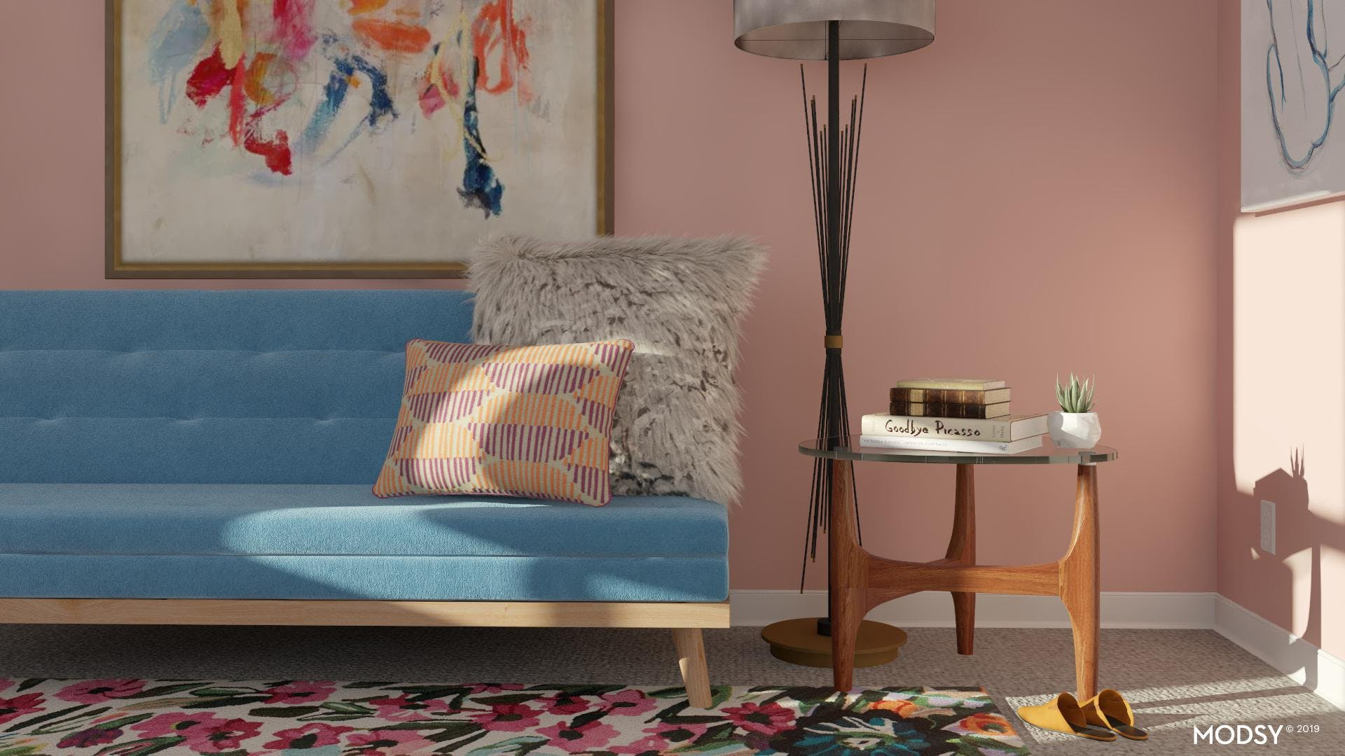 Bright Mid-Century Modern Bedroom Accents