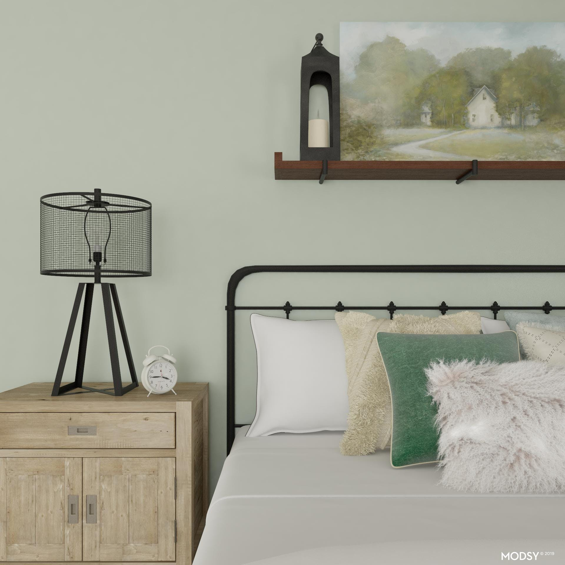 Rustic Bedroom With Pops Of Greens