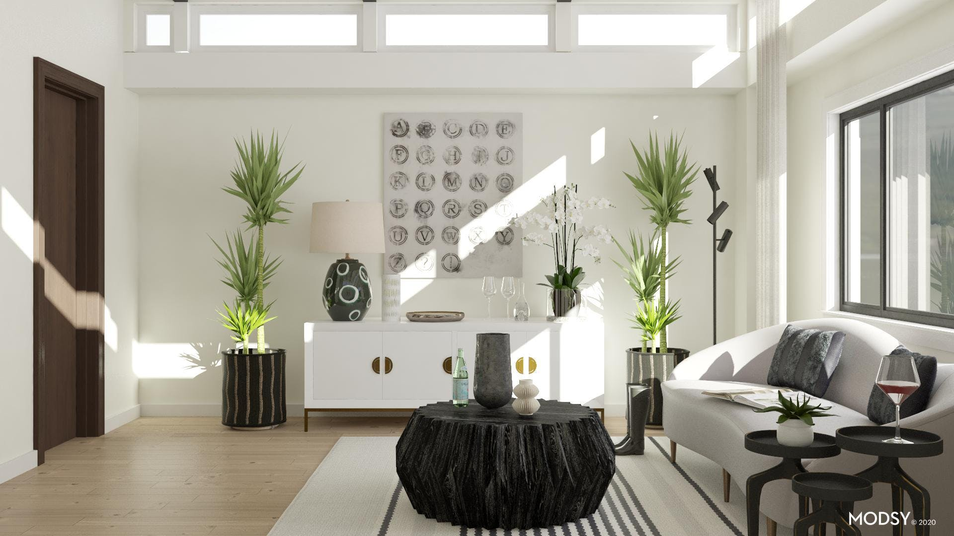 Black And White With Plenty Of Greenery