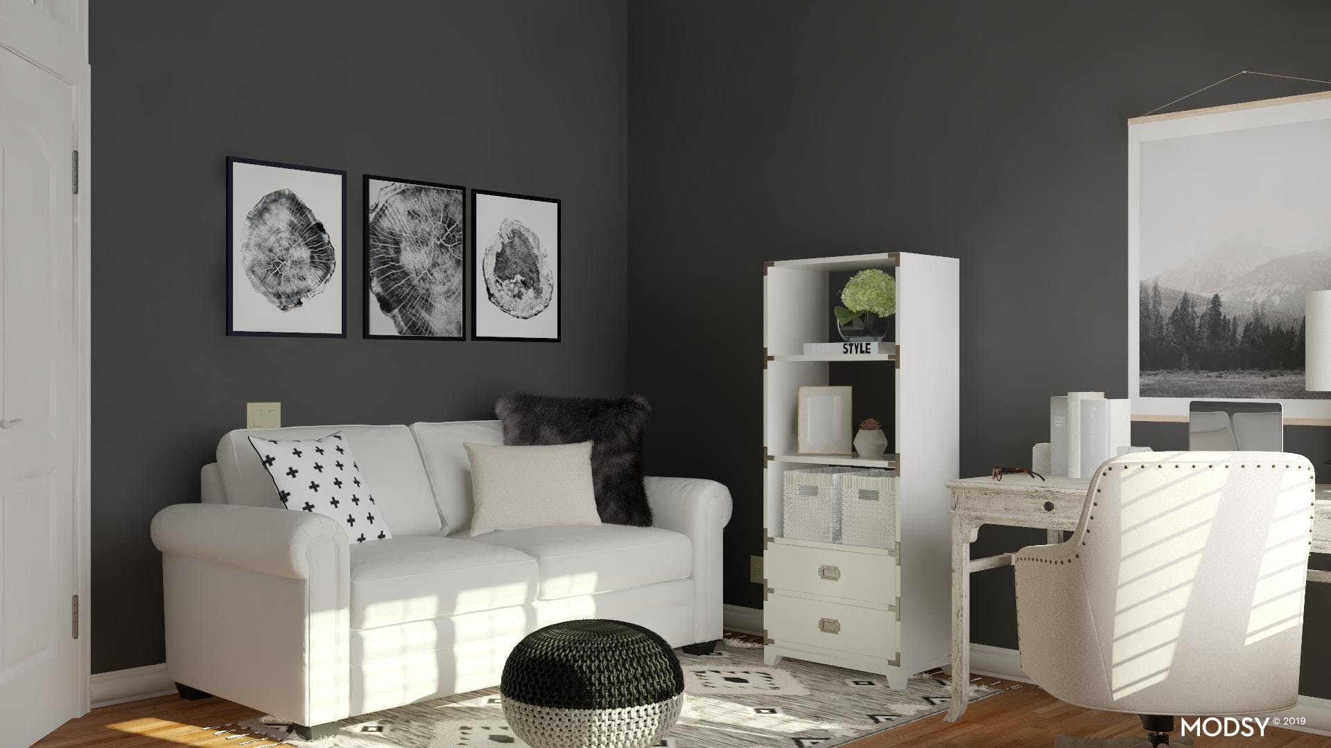 A Tranquil Office In Black And White