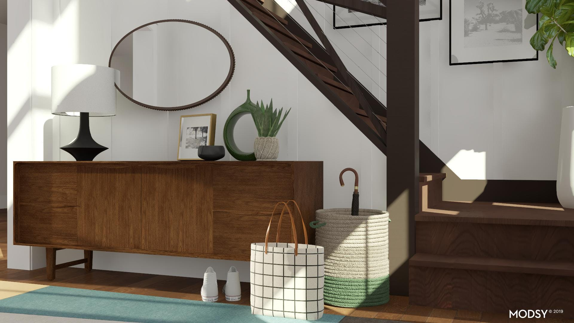Sophisticated Mid-Century Entryway