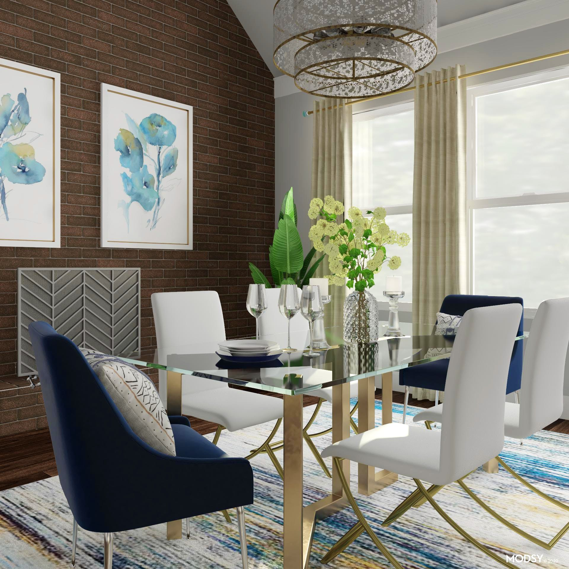 Glam Dining Room With Cool Hues