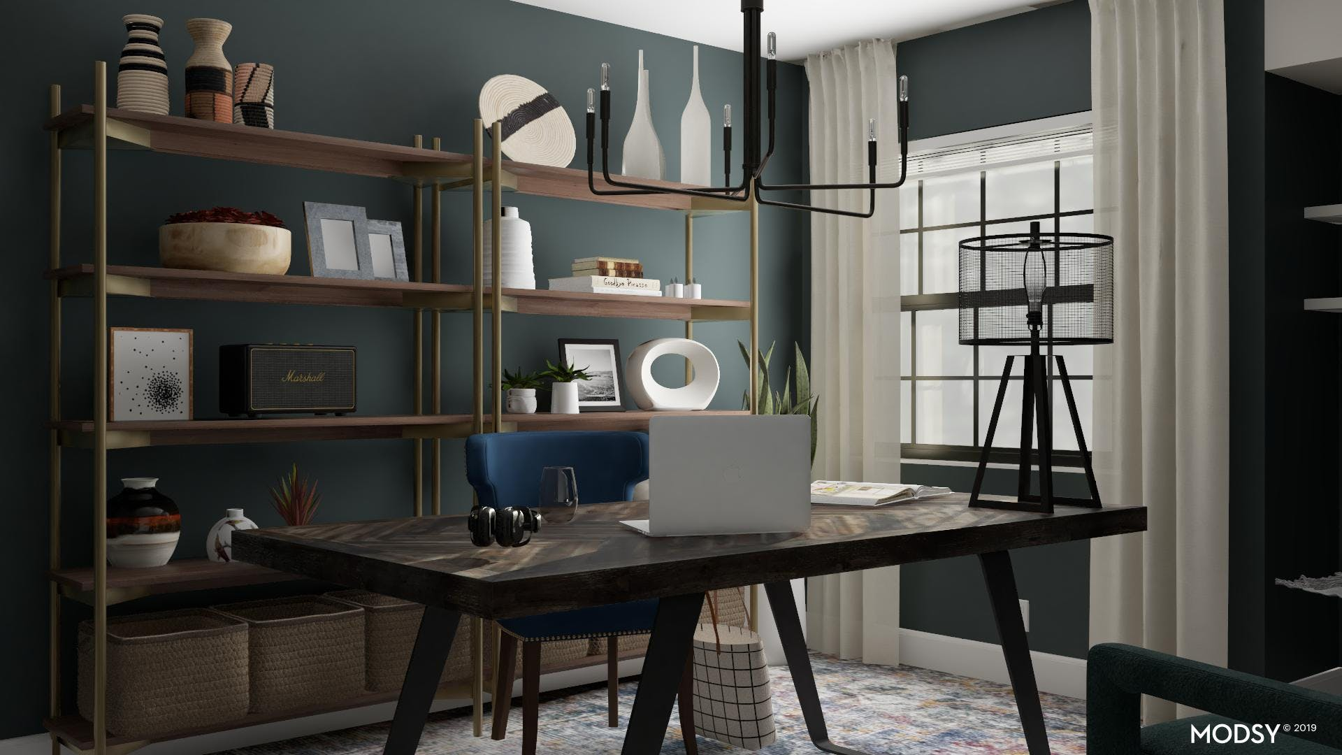 Deep Greens With Pops Of Sapphire Create A Rich Office
