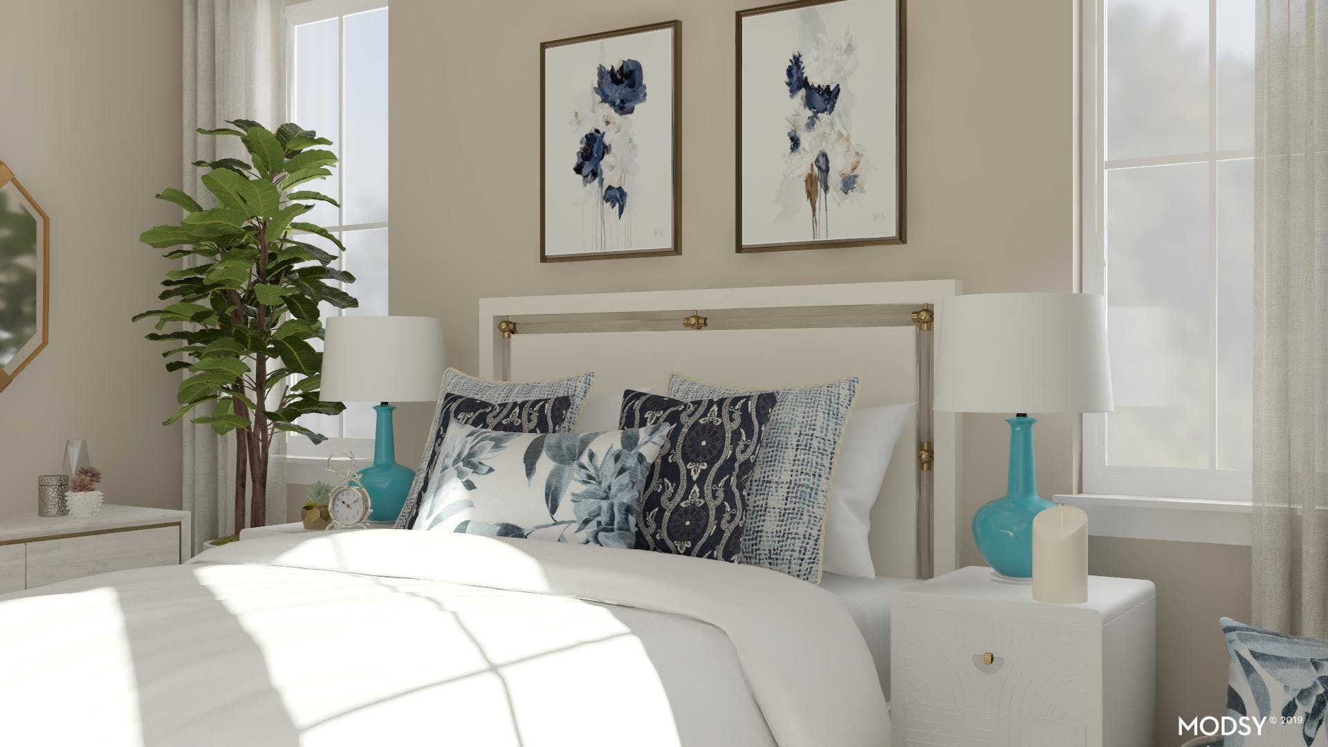 Modern Feminine Bed With Relaxing Blues