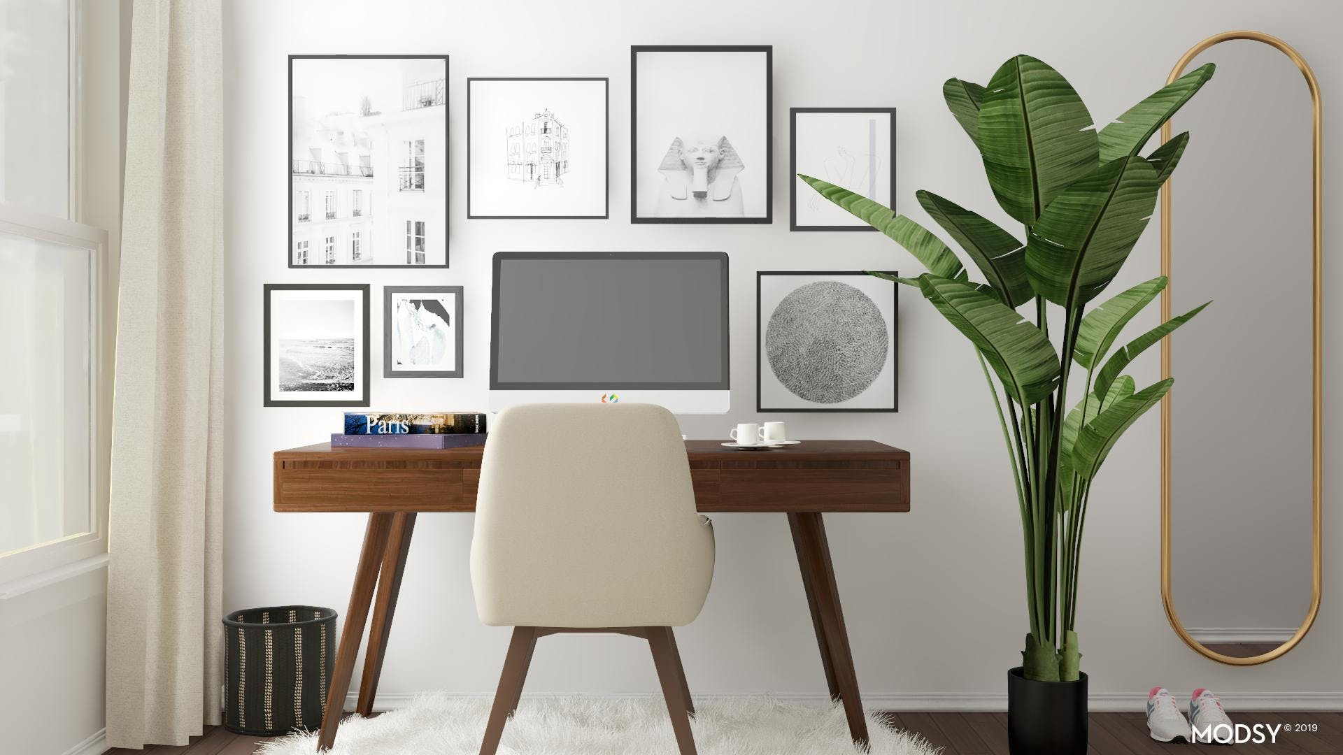 Black And White Gallery Wall In Your Mid Century Mod Office