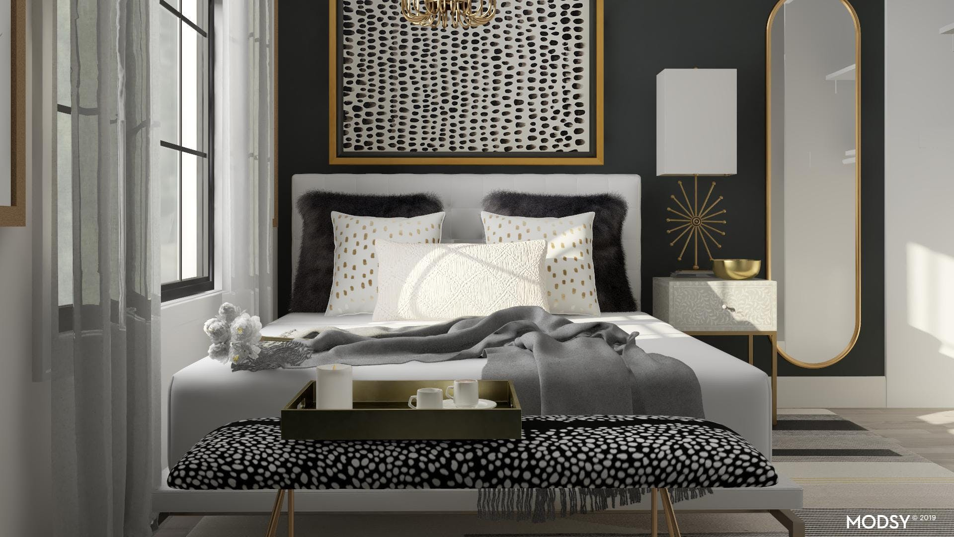 Glam, Gold and Bold Bedroom Design