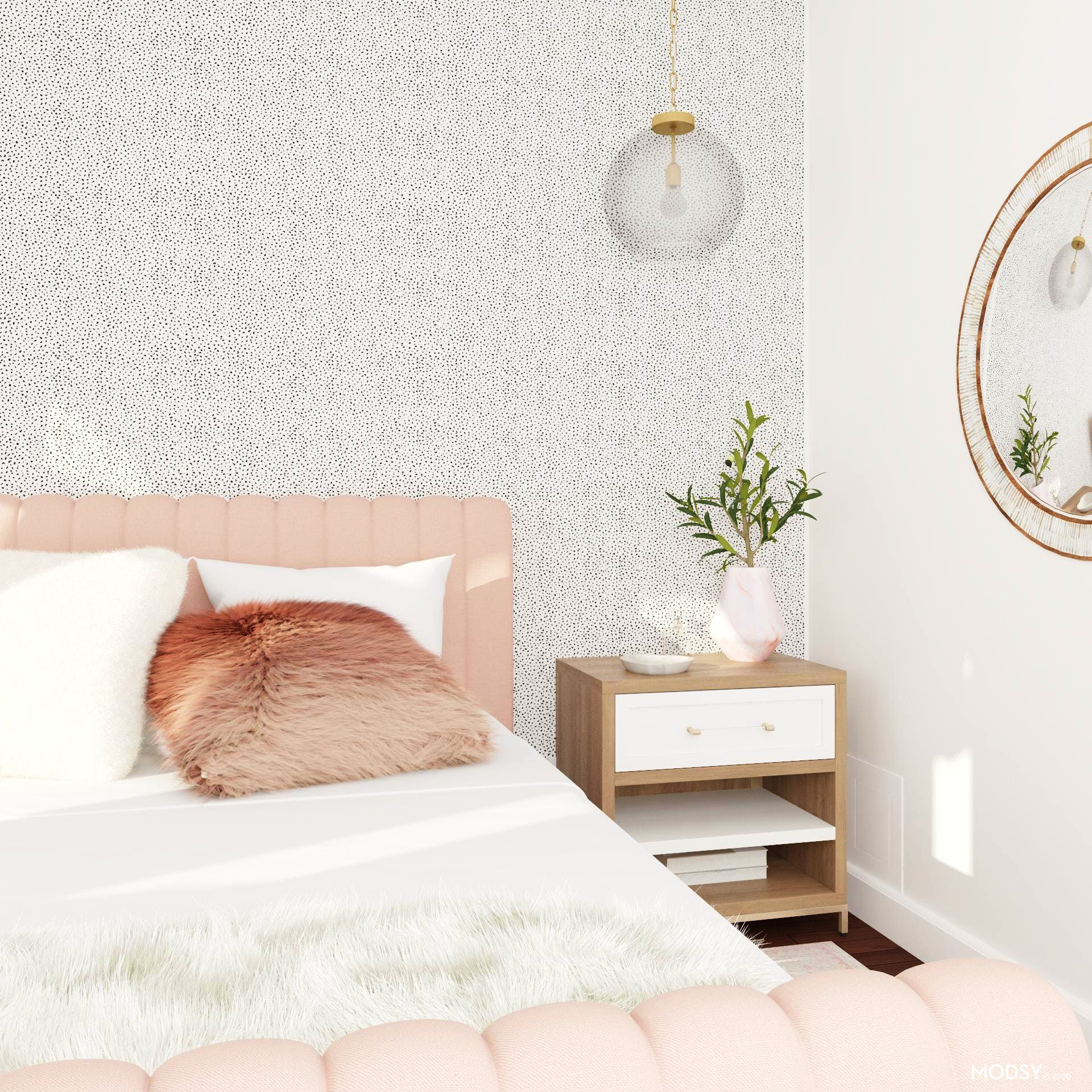 Sweet Glam Bedroom Tableau in Pinks and Polka-dots