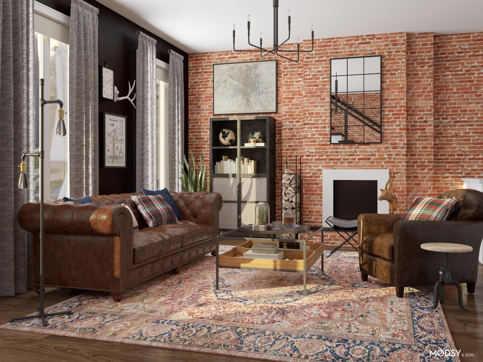 Bold Industrial Americana Inspired Living Room