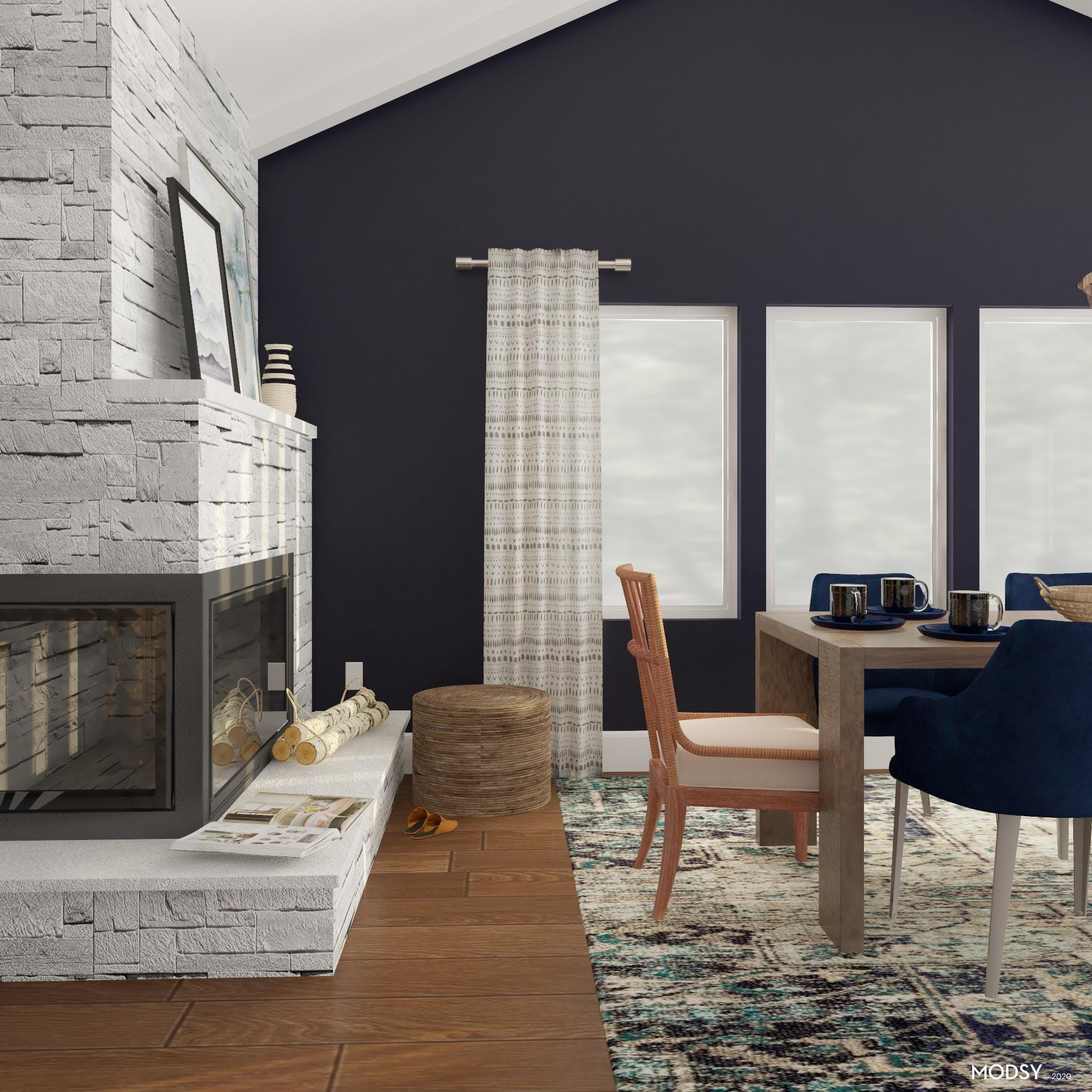 Blue And Cozy Dining Room