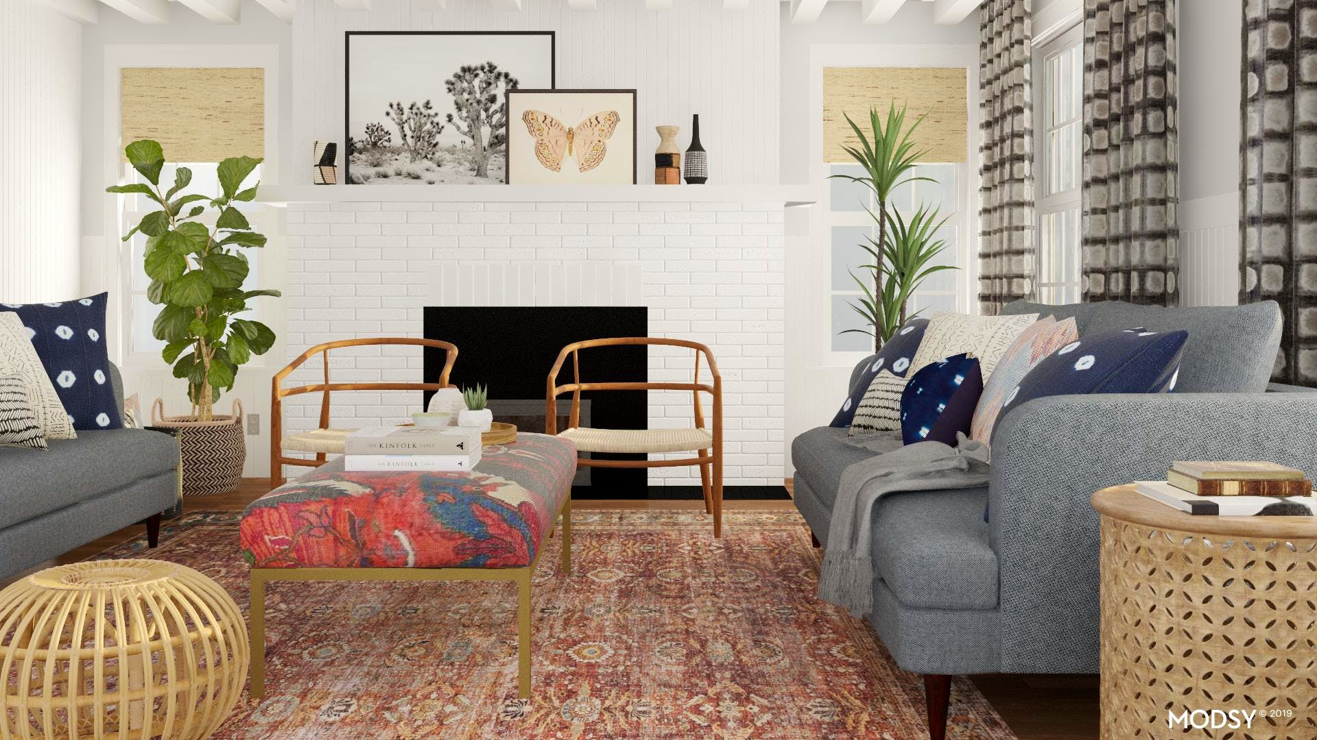 Cozy Mid-Century Boho Living Room