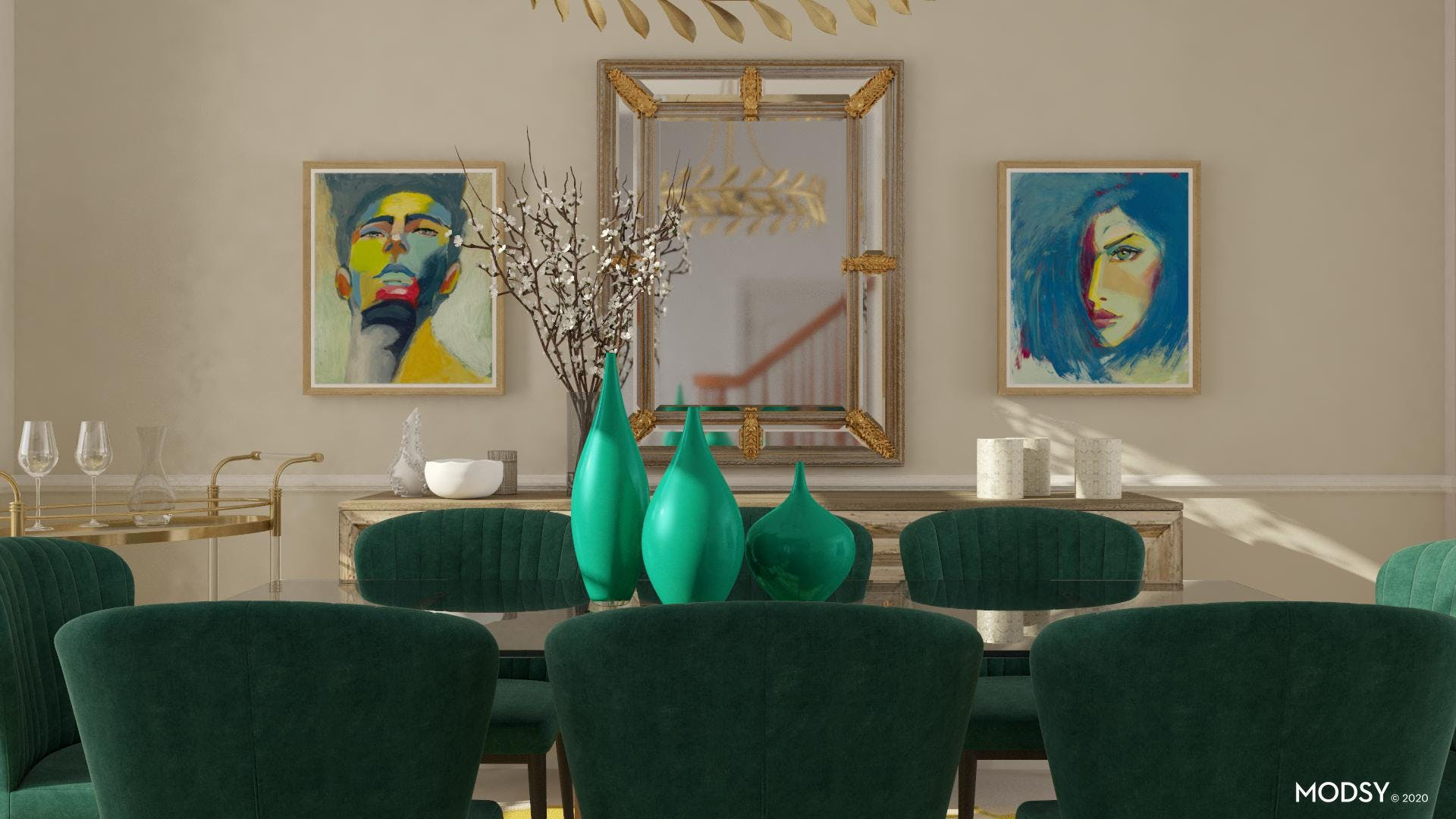 Green Dining Chairs For a Glam Dining Room