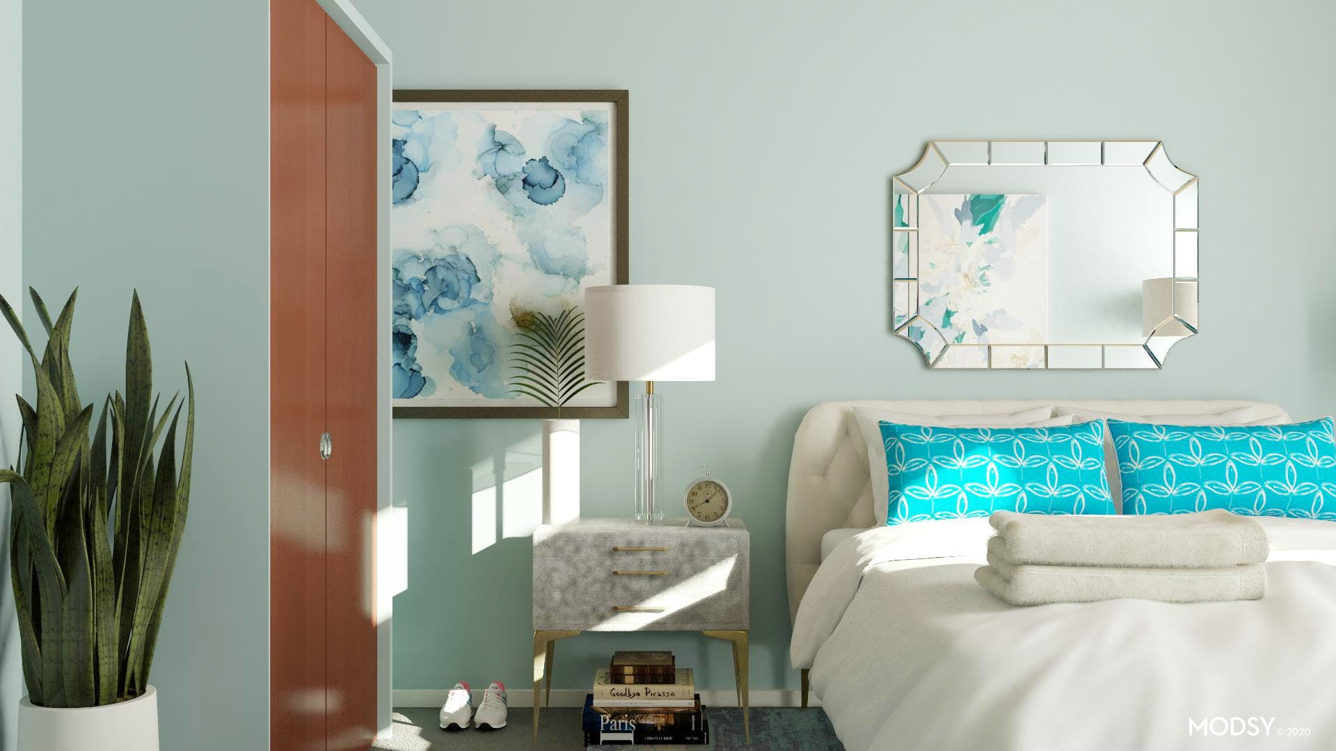 A Bright Blue Eclectic Bedroom