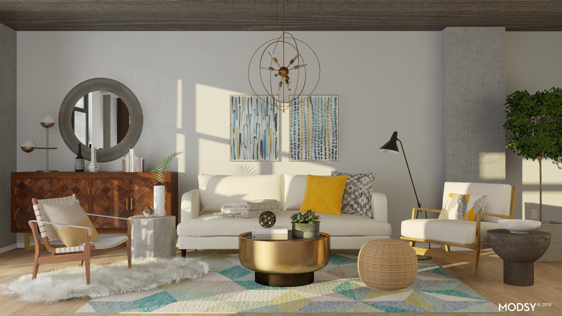 A Cheery Industrial Living Room