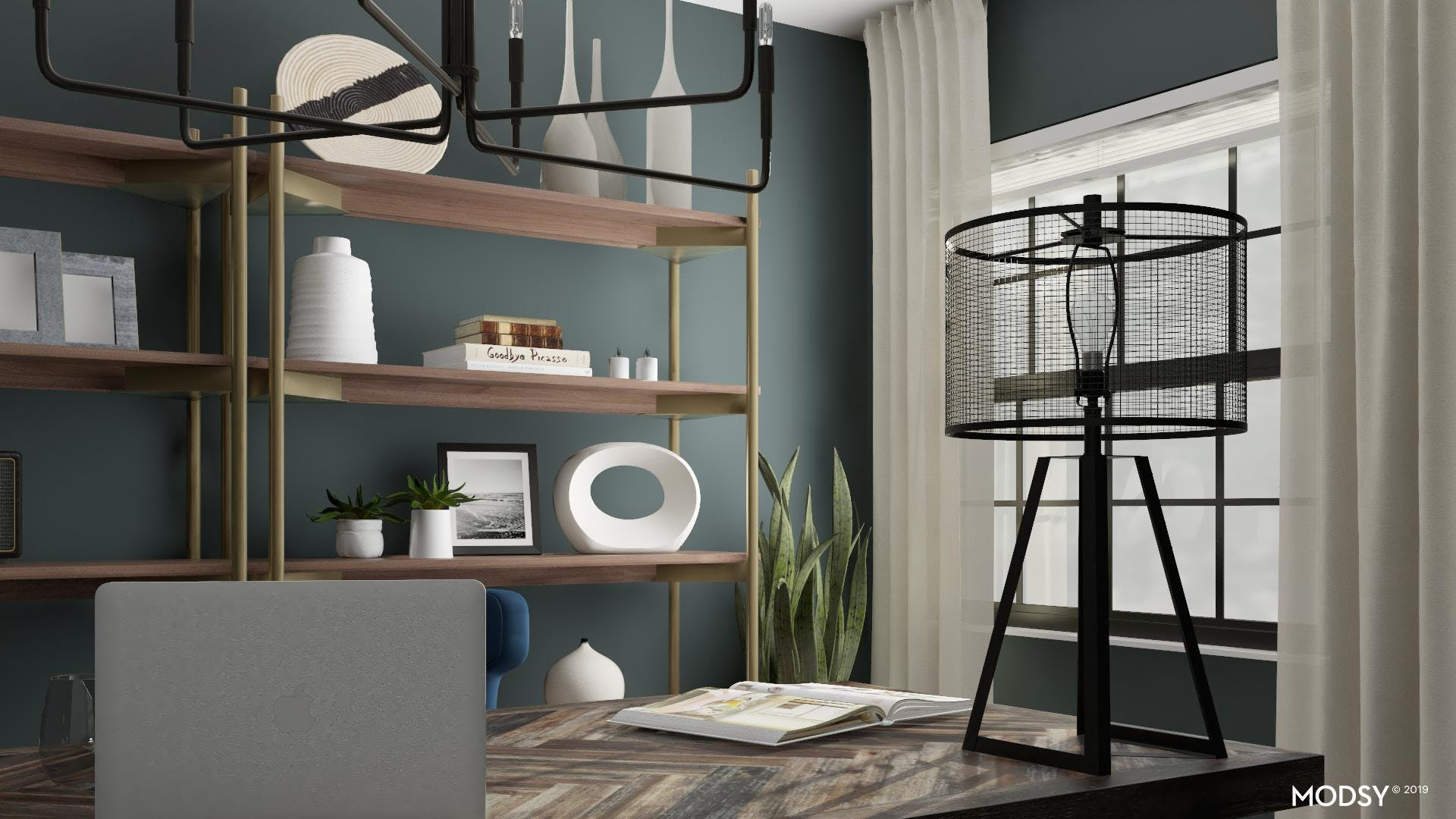 Dark Metals Add Depth To Moody Green Office Space