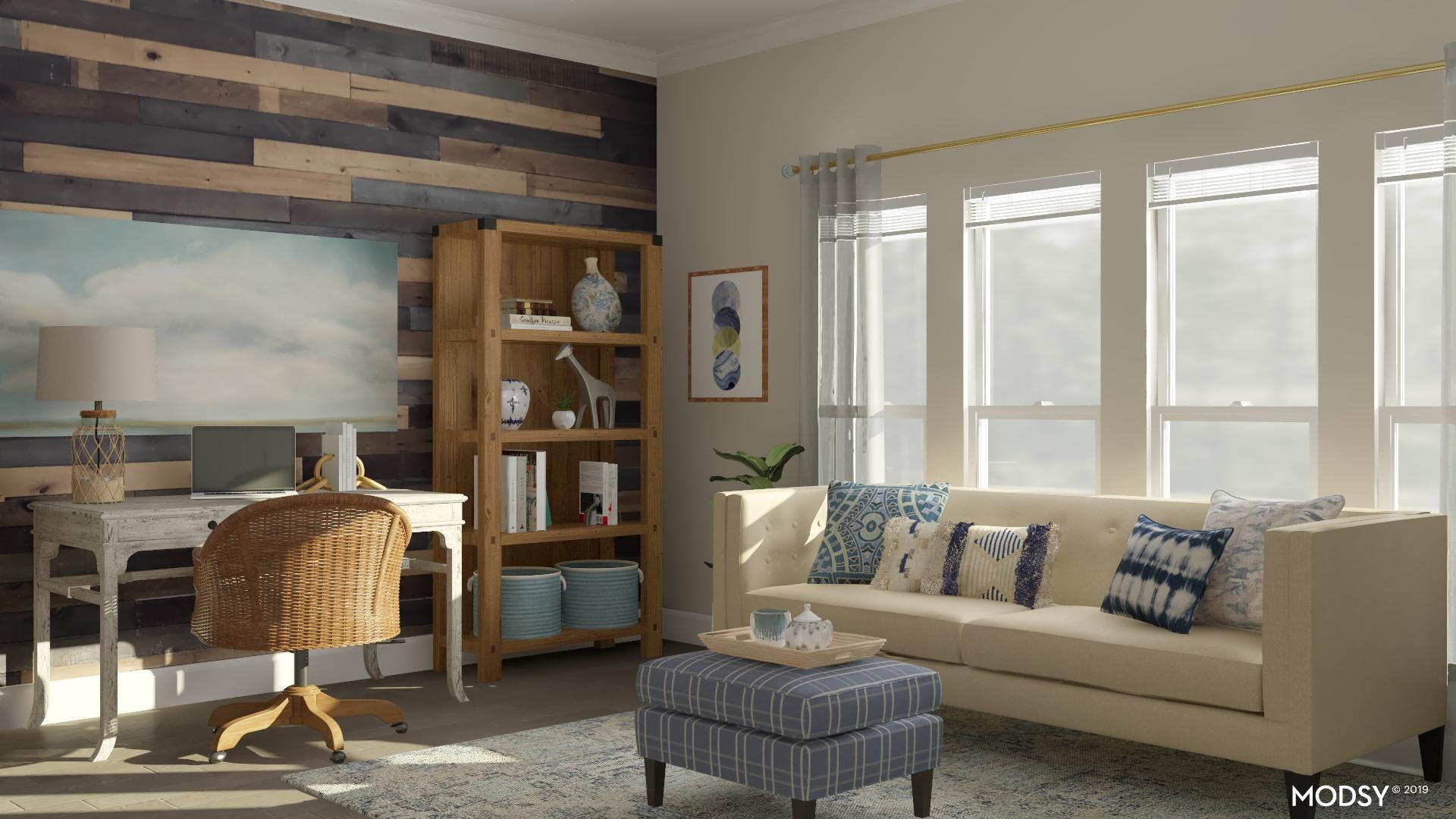 Soothing Rustic Office Space