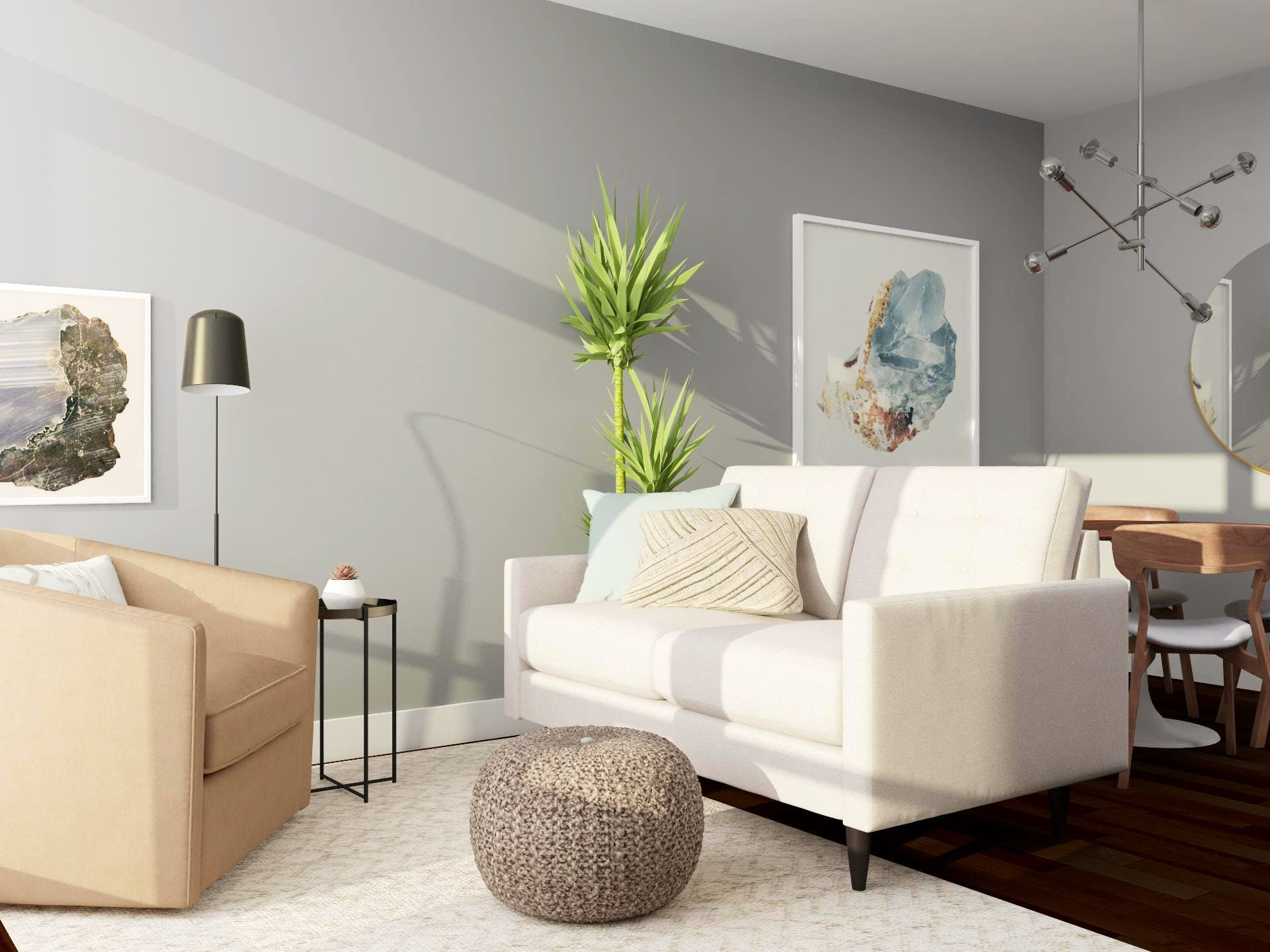 Open-Living Dining Room With Mid-Century-Modern Decor and a Relaxed Neutral Color Palette