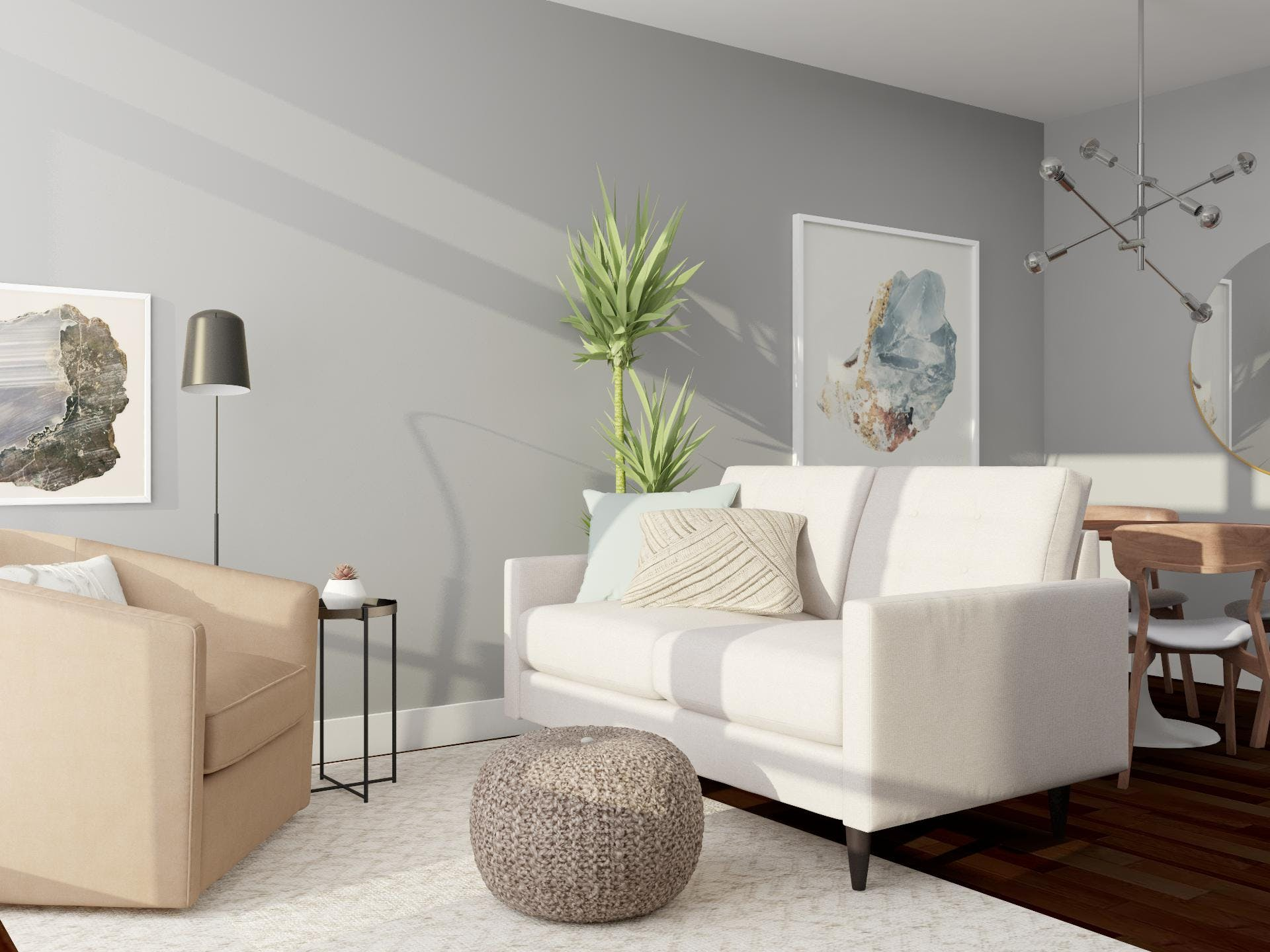 Small Contemporary Space With Cute Organic Touches