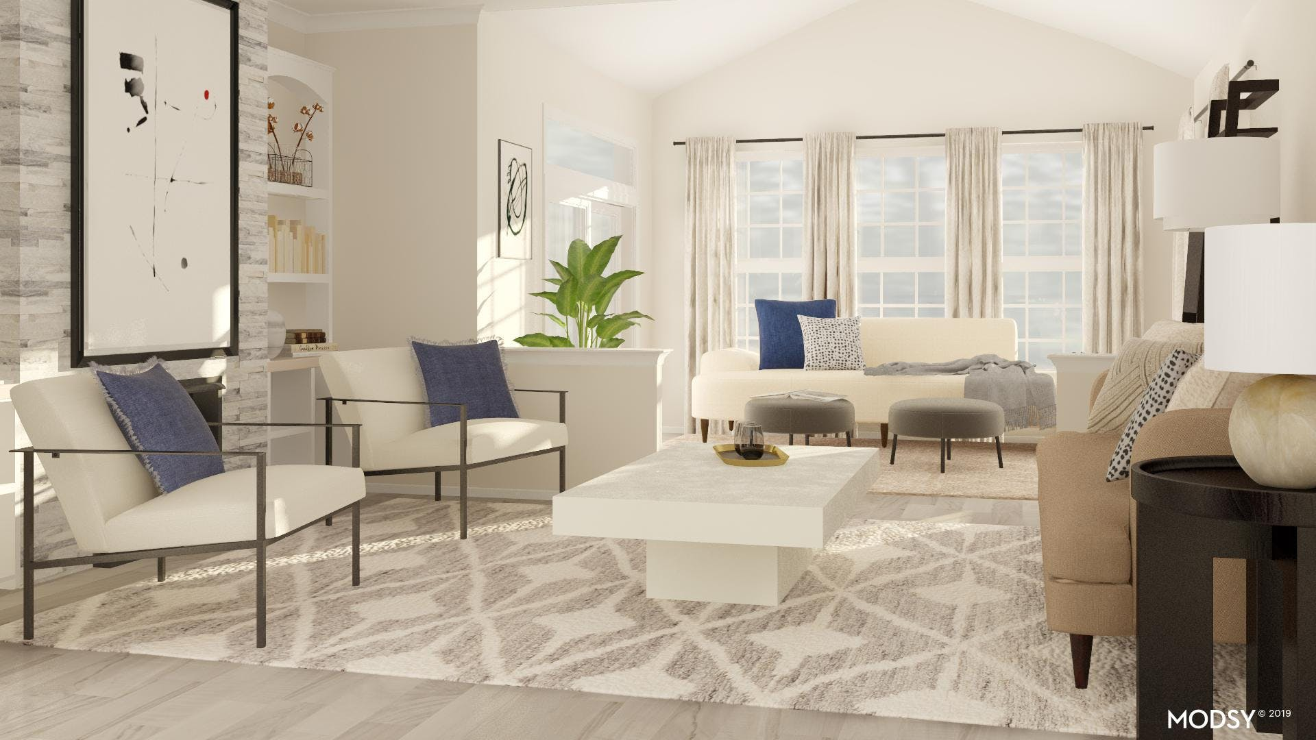 Neutral Living Room With An Edge