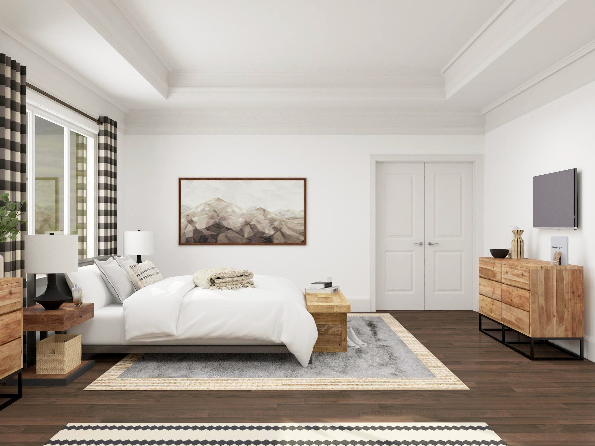 Modren Rustic Bedroom with Funtional TV Viewing Layout