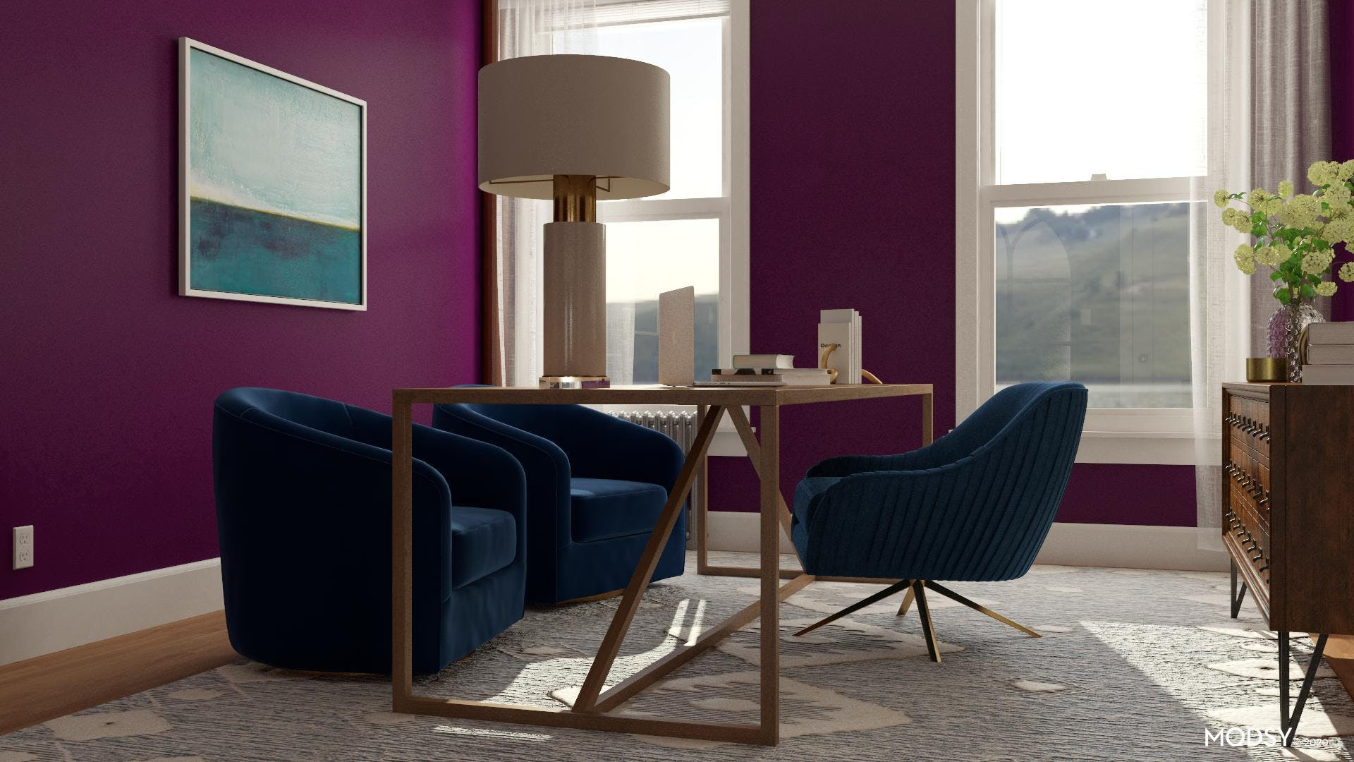 Transitional Jewel Tones: Home Office