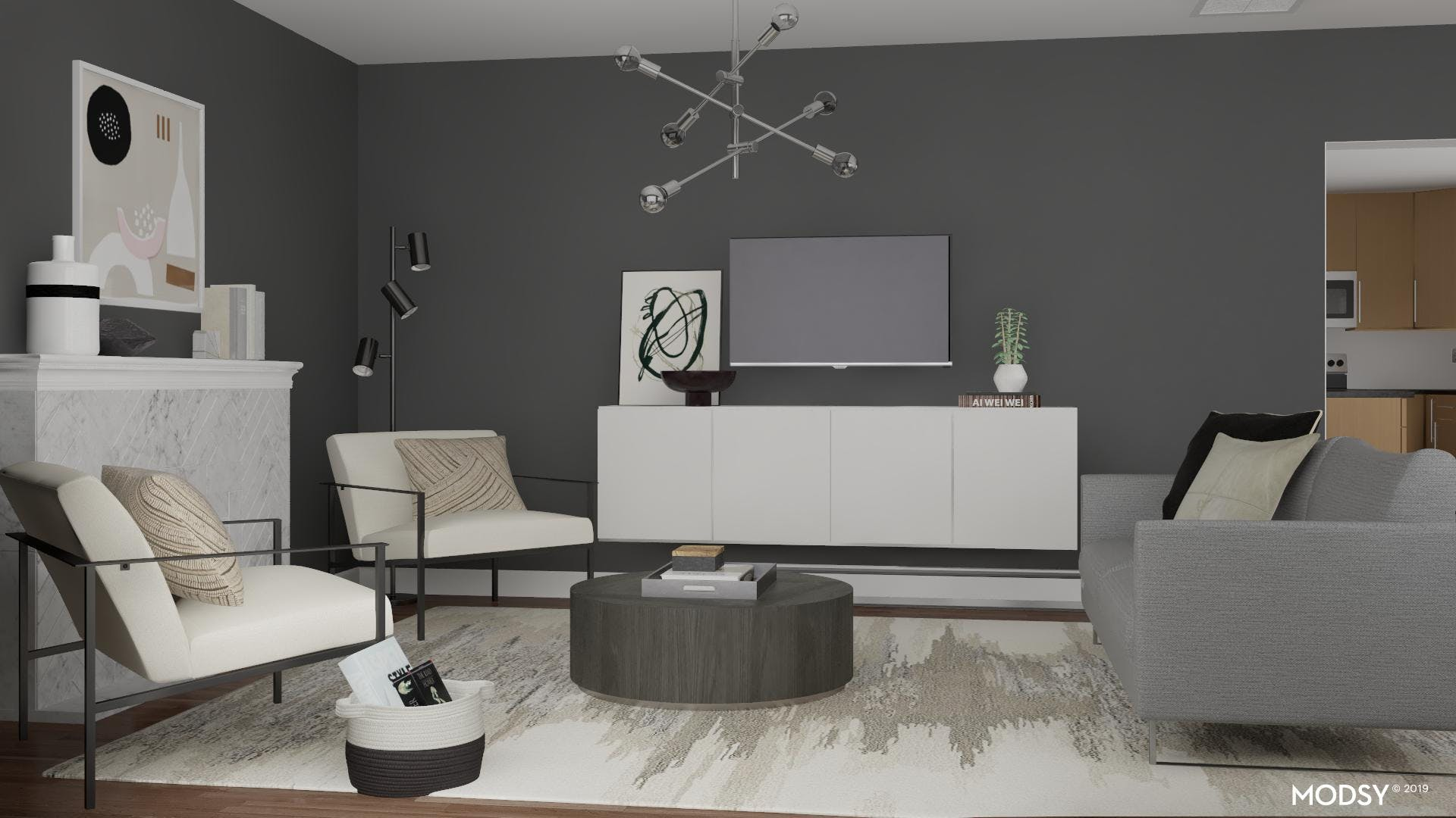 Neutral Modern Living Room With Fireplace