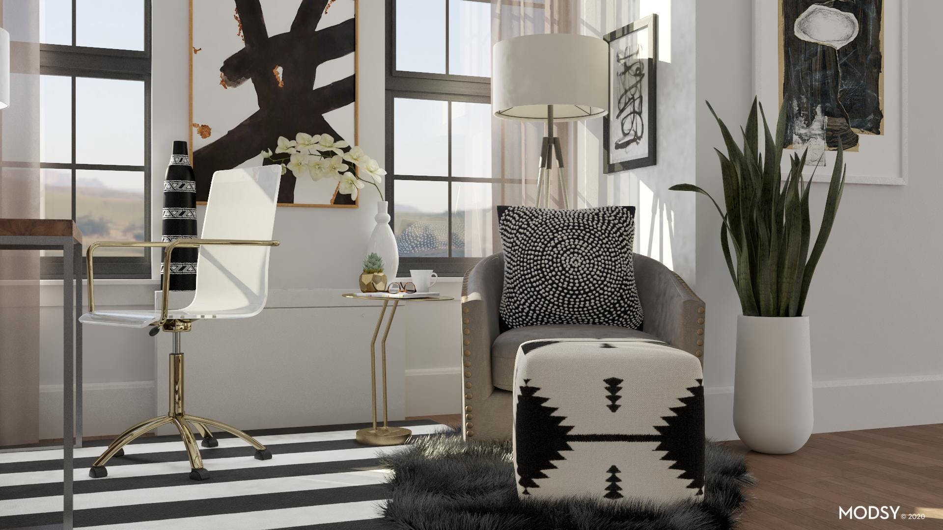 Patterns Come Together to Create a Serene Nook