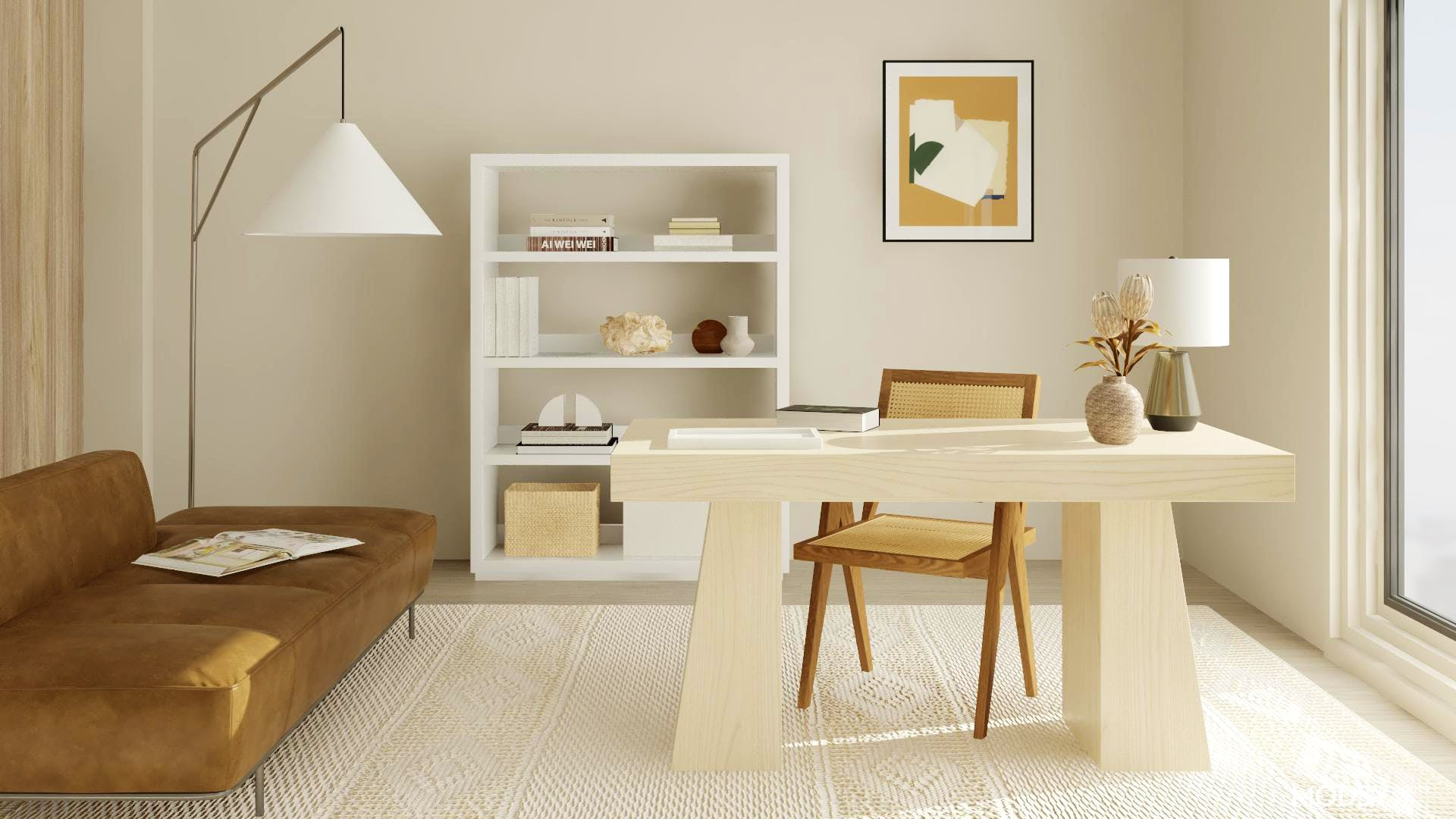 Organic Modern Office  in Neutral Tones
