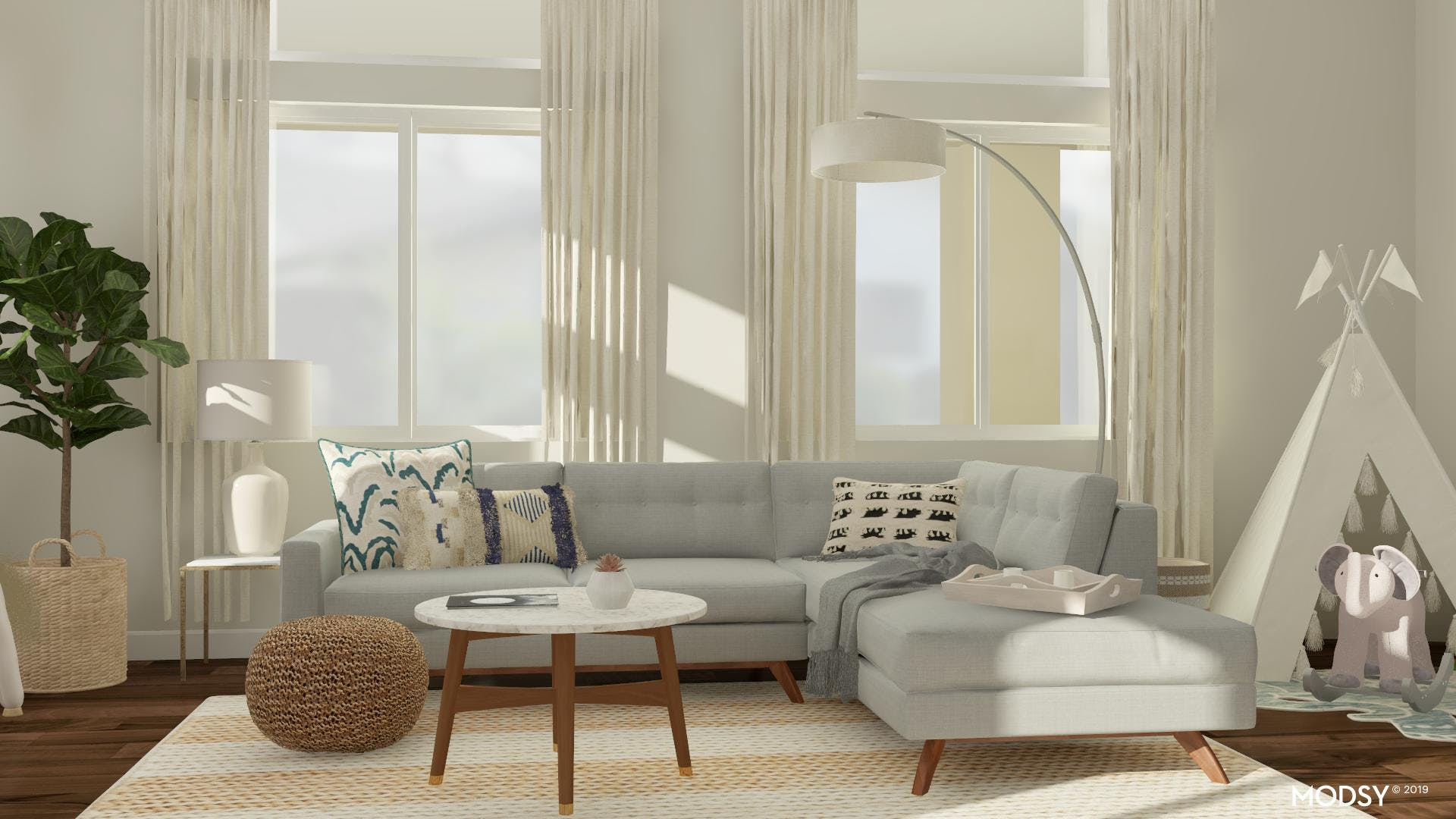 Mid Century Living Room In Neutral Palete