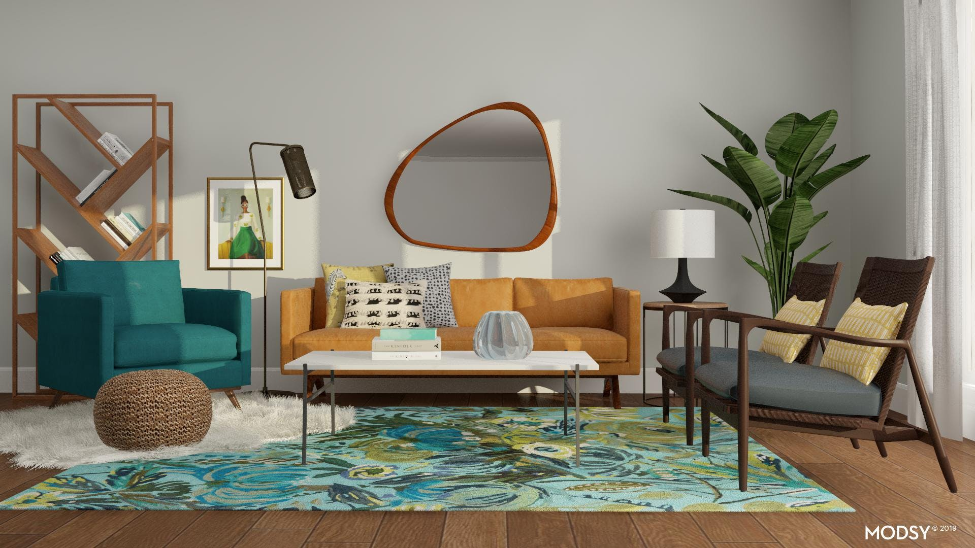 Mid Century Living Room with an Eclectic Twist