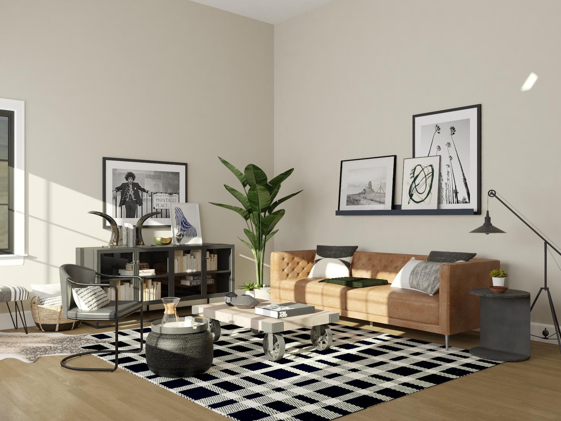 LA Rocker Style Industrial Living Room